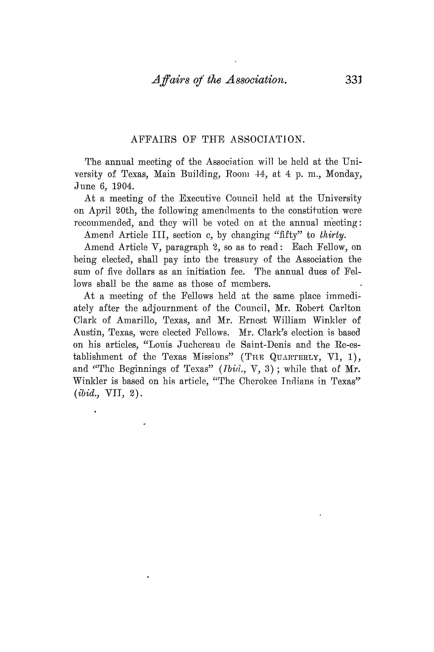 The Quarterly of the Texas State Historical Association, Volume 7, July 1903 - April, 1904                                                                                                      331