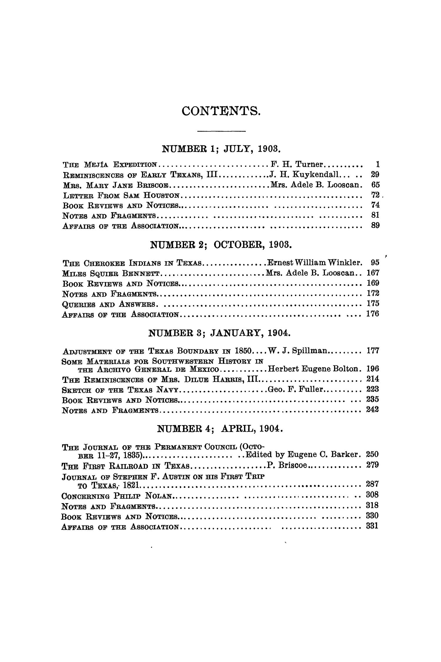 The Quarterly of the Texas State Historical Association, Volume 7, July 1903 - April, 1904                                                                                                      None
