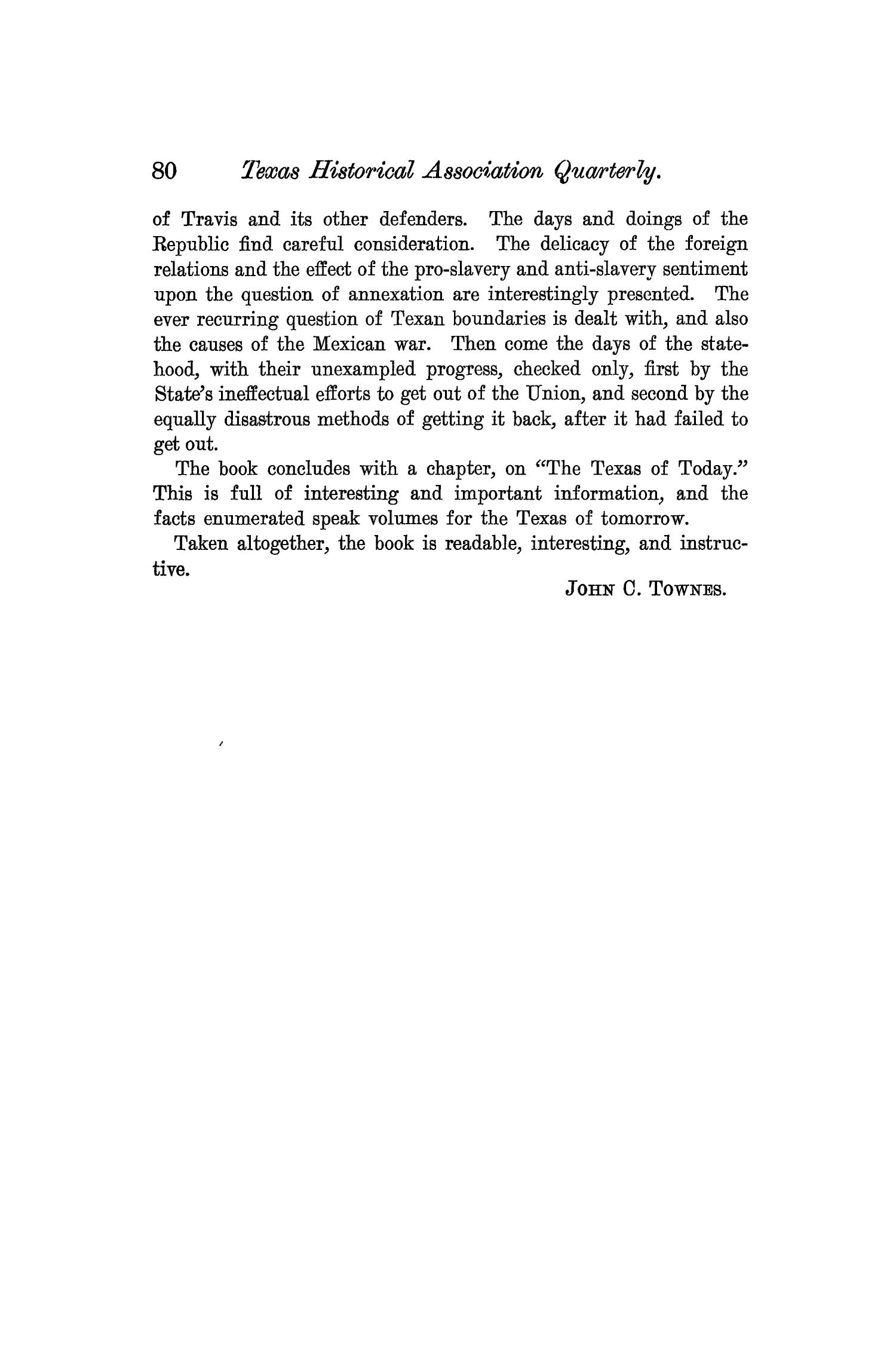 The Quarterly of the Texas State Historical Association, Volume 7, July 1903 - April, 1904                                                                                                      80