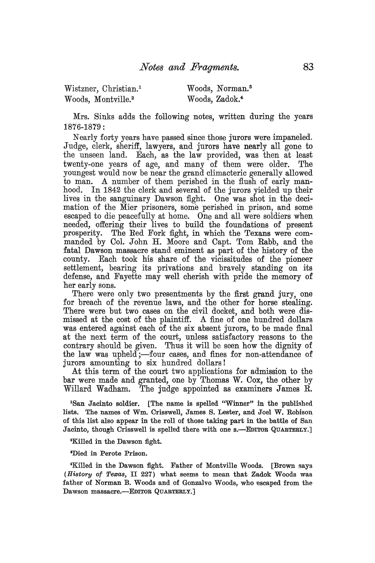 The Quarterly of the Texas State Historical Association, Volume 7, July 1903 - April, 1904                                                                                                      83
