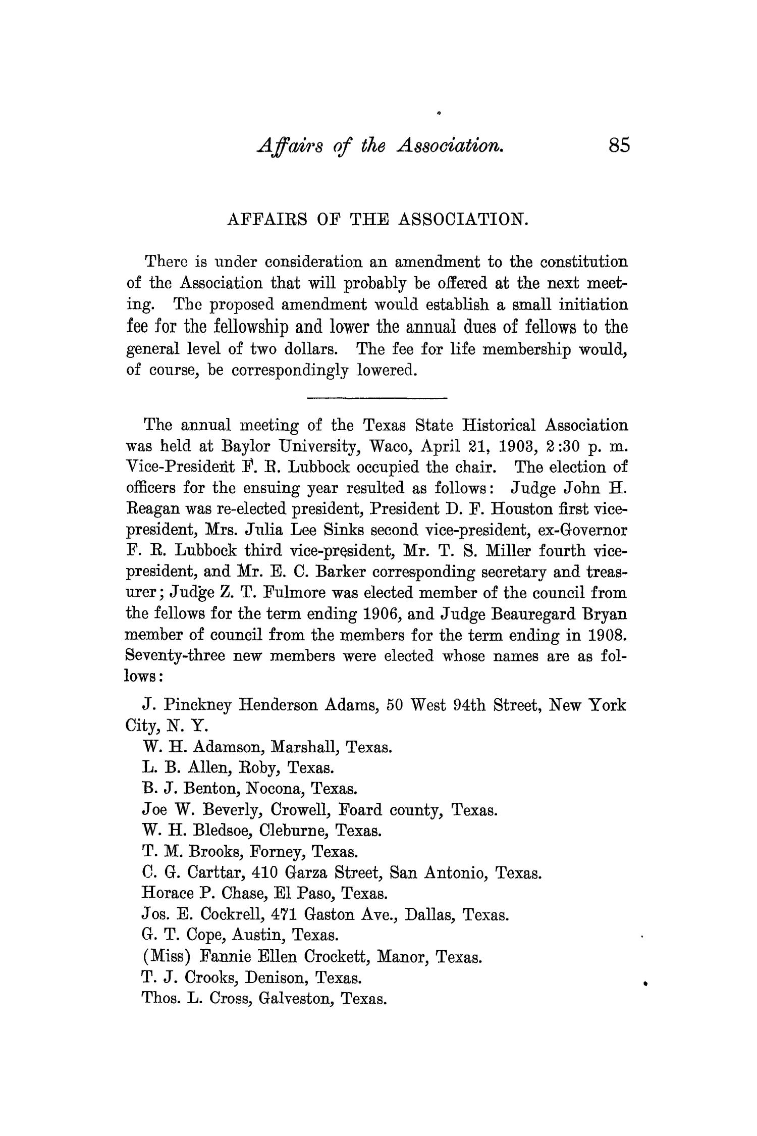 The Quarterly of the Texas State Historical Association, Volume 7, July 1903 - April, 1904                                                                                                      85