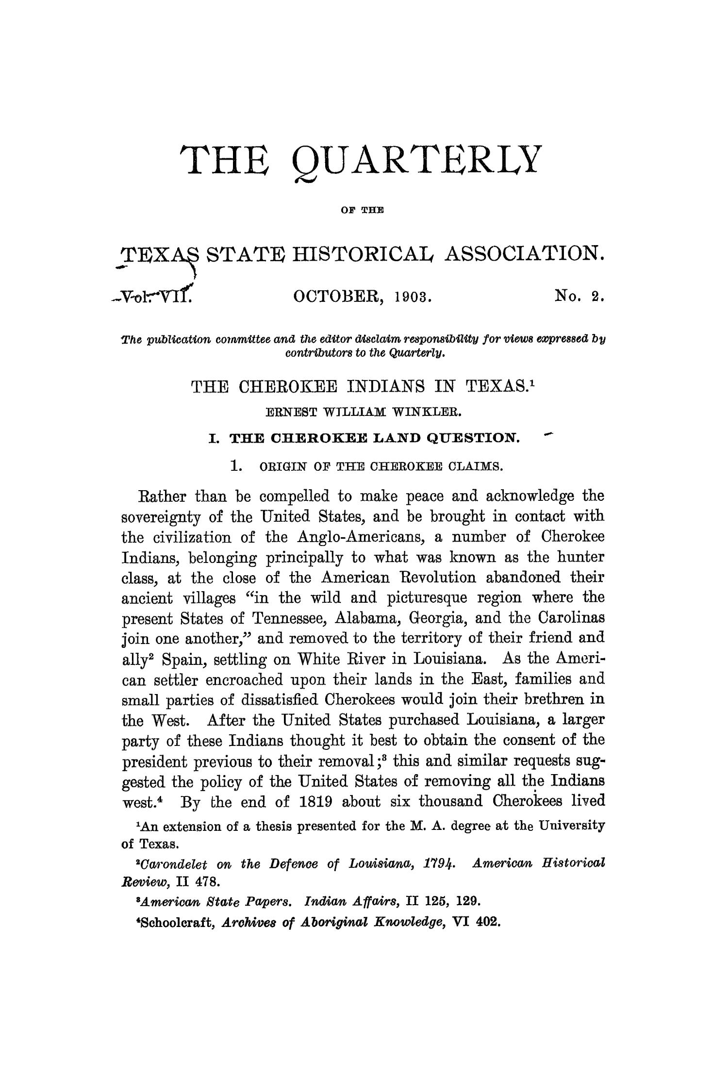 The Quarterly of the Texas State Historical Association, Volume 7, July 1903 - April, 1904                                                                                                      95