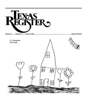 Primary view of object titled 'Texas Register, Volume 28, Number 17, Pages 3399-3648, April 25, 2003'.