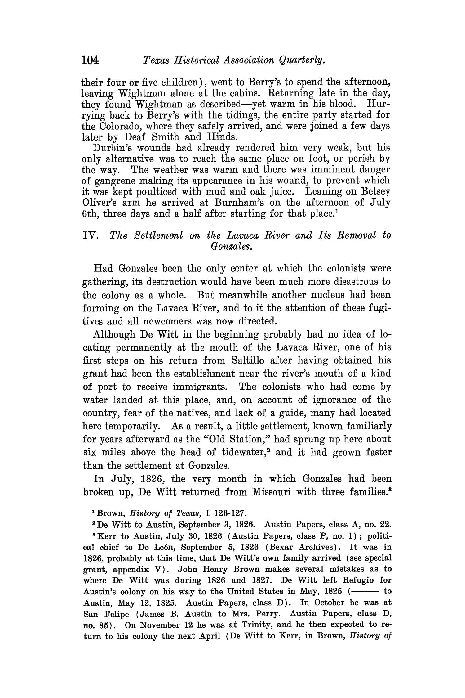 The Quarterly of the Texas State Historical Association, Volume 8, July 1904 - April, 1905                                                                                                      104