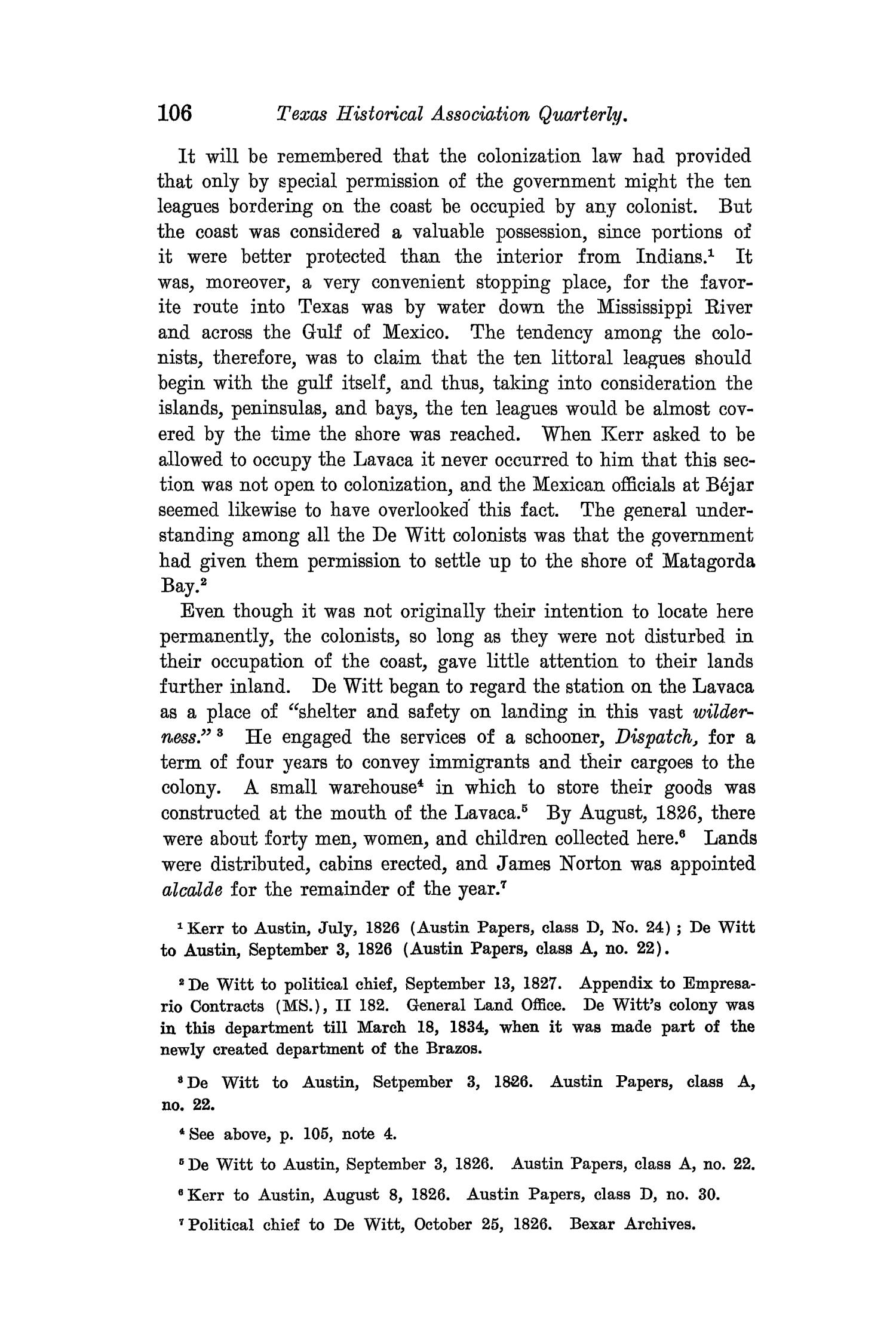 The Quarterly of the Texas State Historical Association, Volume 8, July 1904 - April, 1905                                                                                                      106