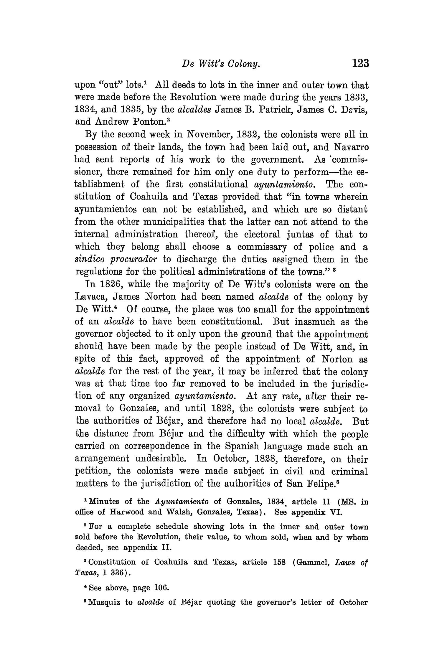 The Quarterly of the Texas State Historical Association, Volume 8, July 1904 - April, 1905                                                                                                      123