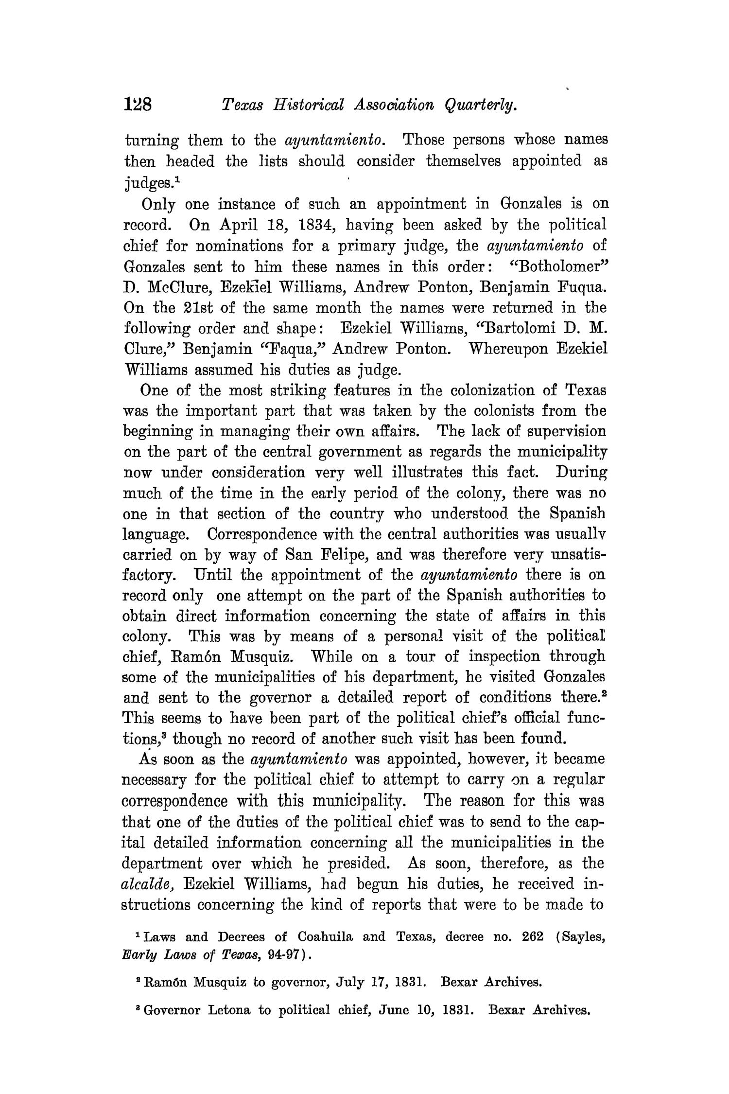 The Quarterly of the Texas State Historical Association, Volume 8, July 1904 - April, 1905                                                                                                      128