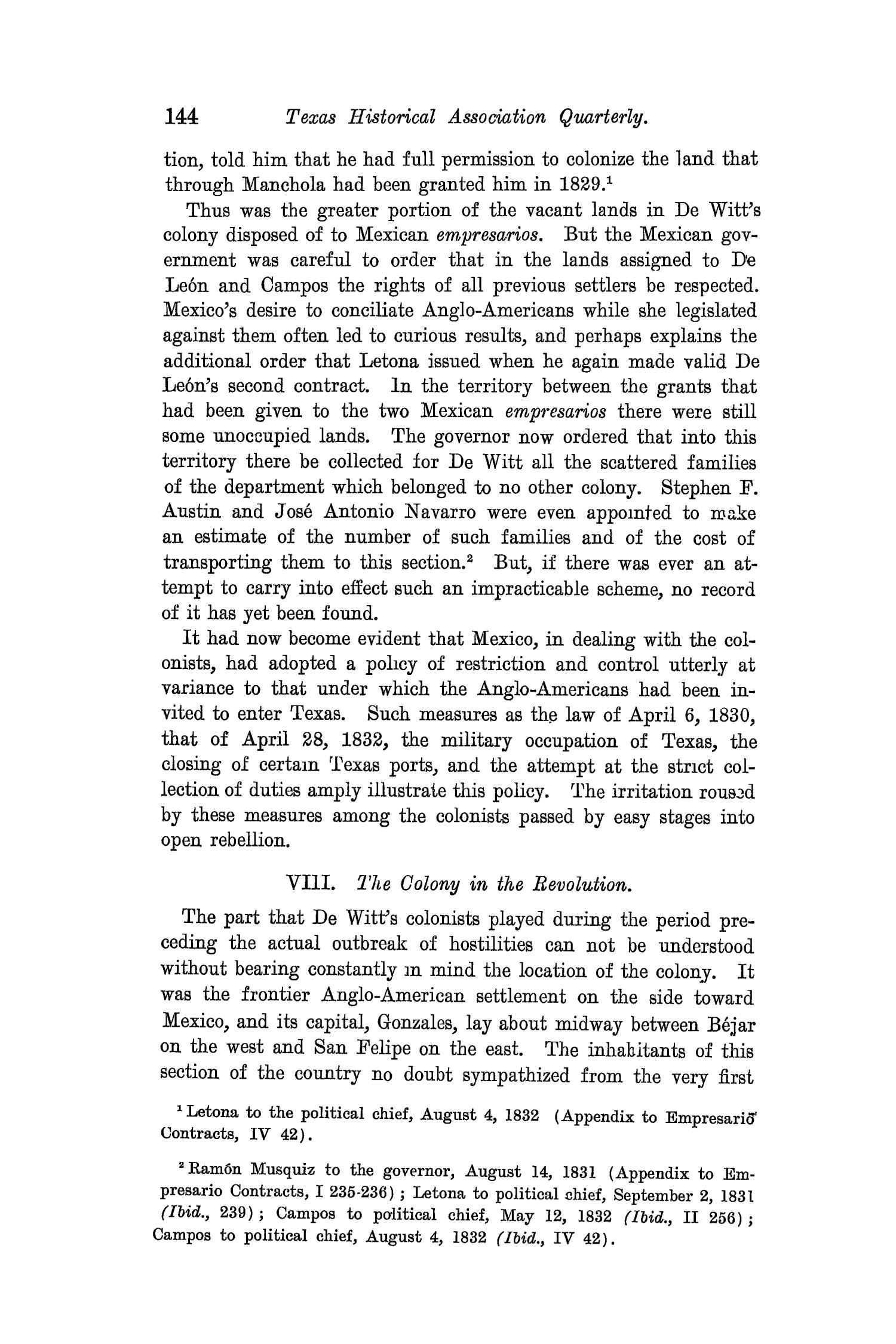 The Quarterly of the Texas State Historical Association, Volume 8, July 1904 - April, 1905                                                                                                      144