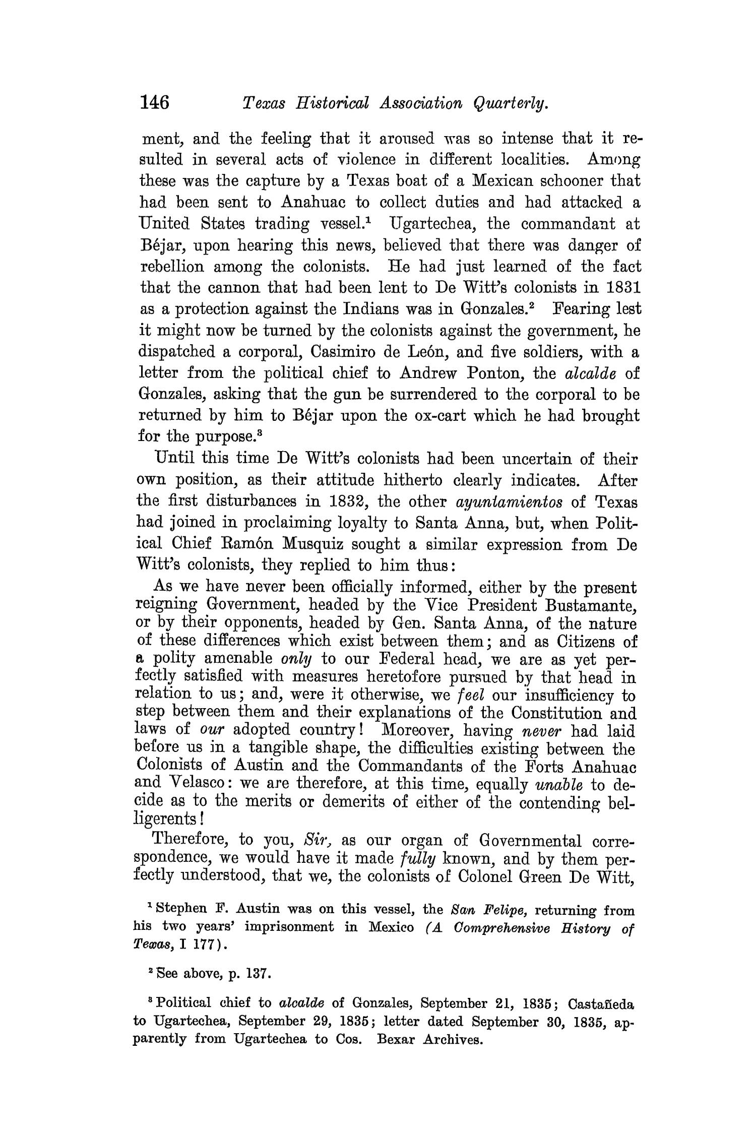 The Quarterly of the Texas State Historical Association, Volume 8, July 1904 - April, 1905                                                                                                      146