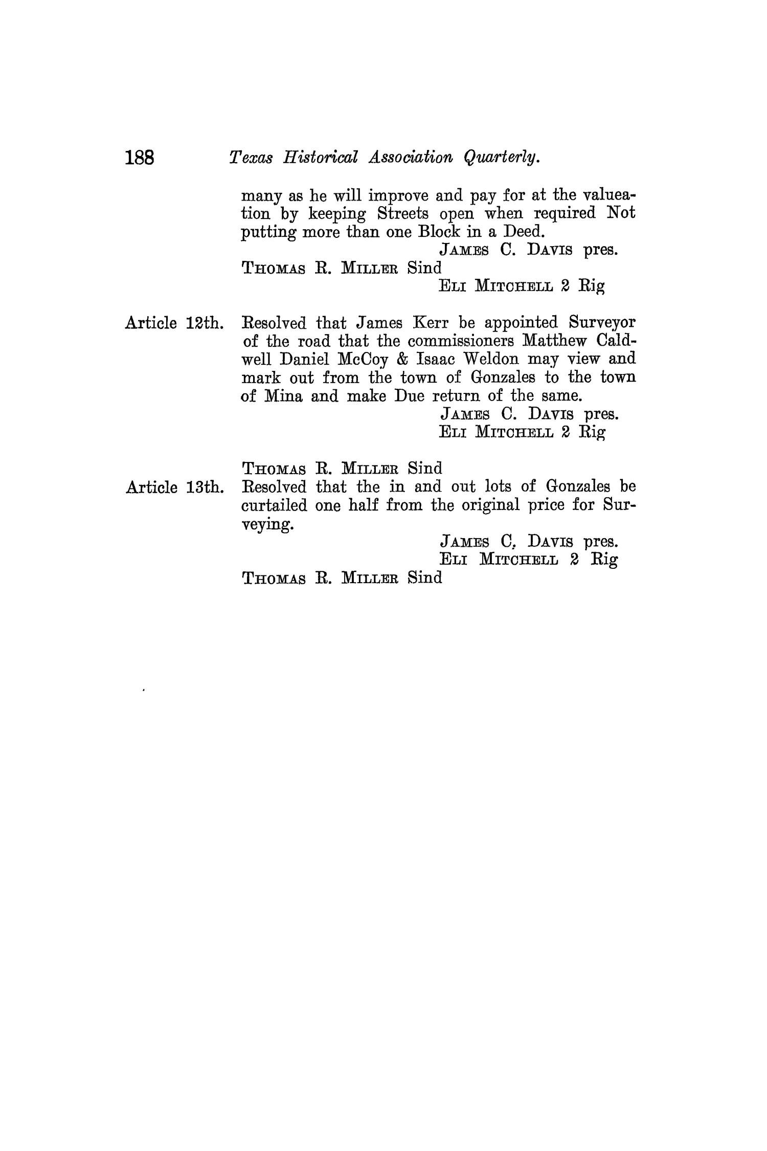The Quarterly of the Texas State Historical Association, Volume 8, July 1904 - April, 1905                                                                                                      188