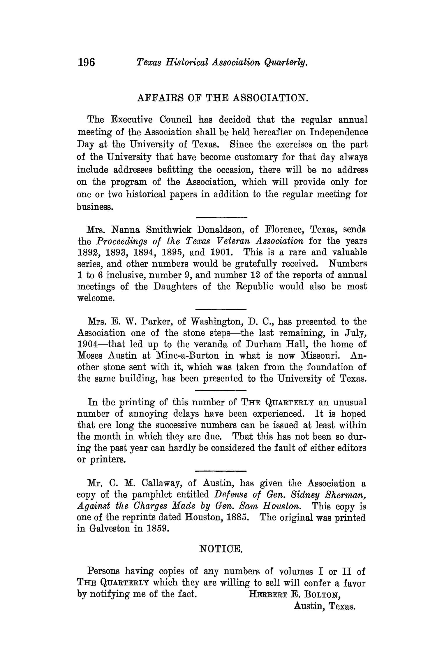 The Quarterly of the Texas State Historical Association, Volume 8, July 1904 - April, 1905                                                                                                      196