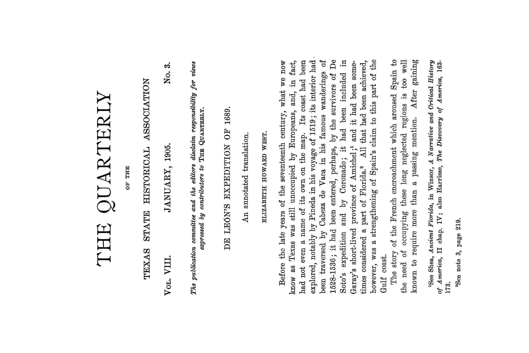 The Quarterly of the Texas State Historical Association, Volume 8, July 1904 - April, 1905                                                                                                      199