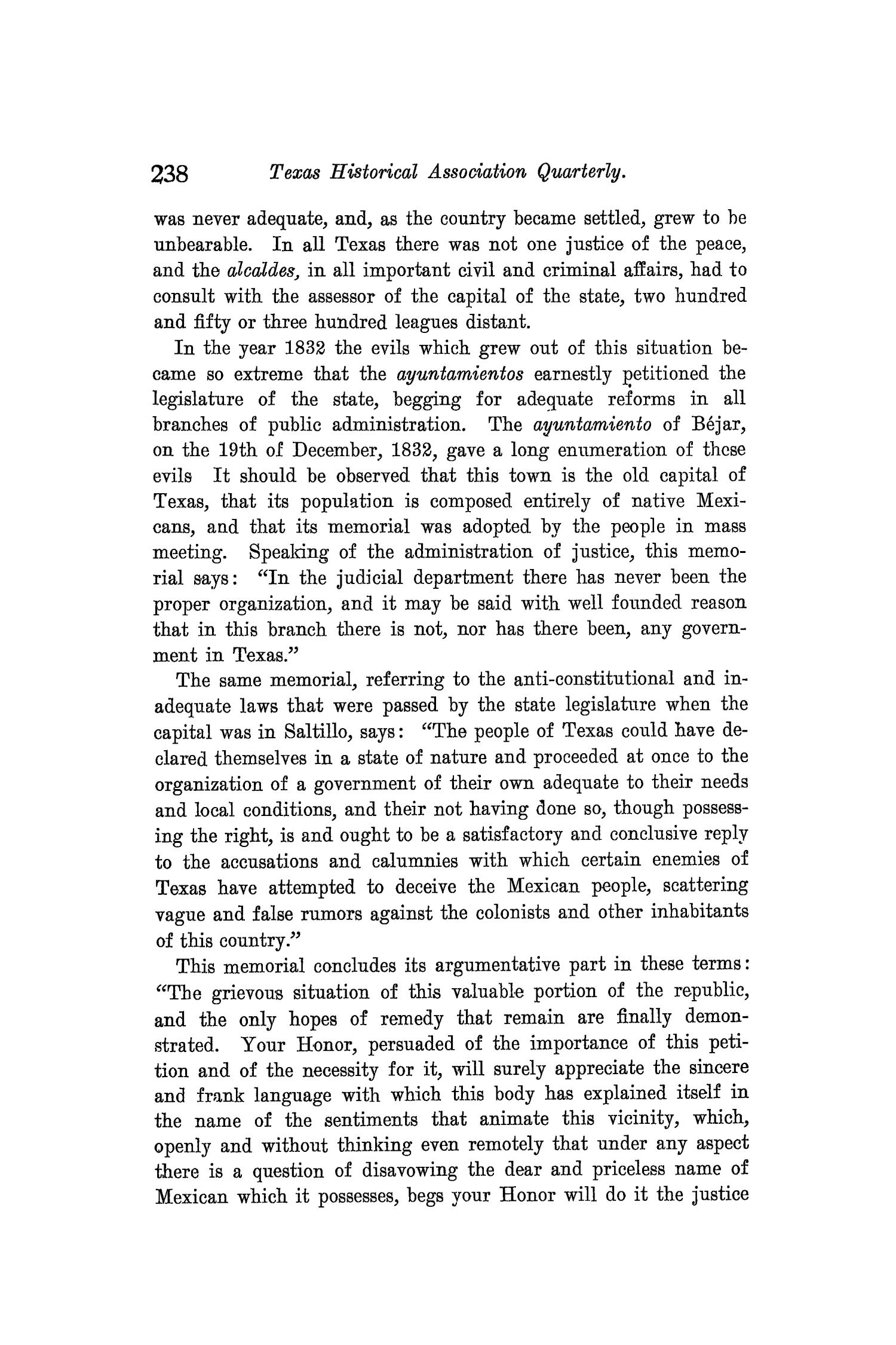 The Quarterly of the Texas State Historical Association, Volume 8, July 1904 - April, 1905                                                                                                      238