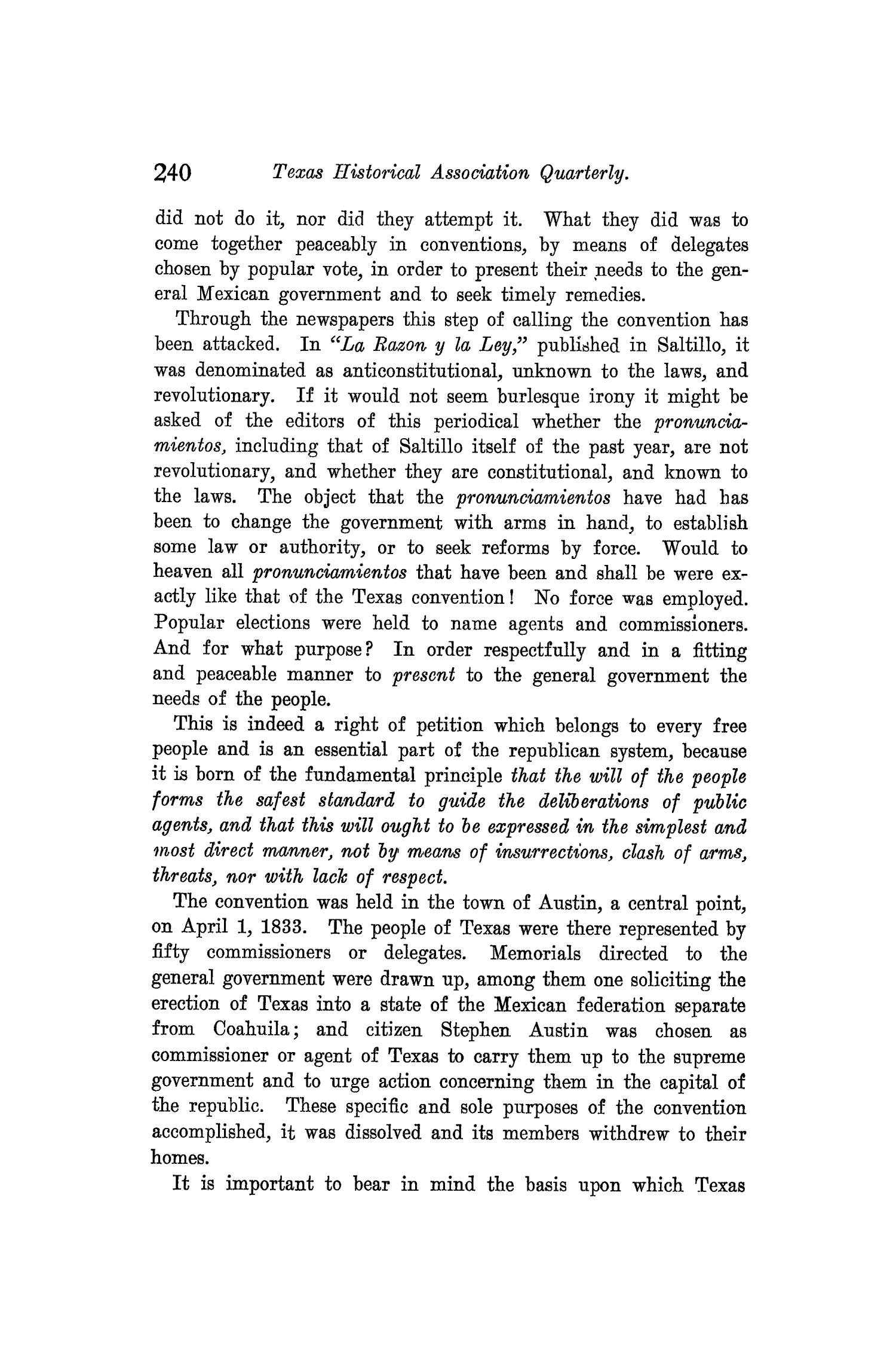 The Quarterly of the Texas State Historical Association, Volume 8, July 1904 - April, 1905                                                                                                      240