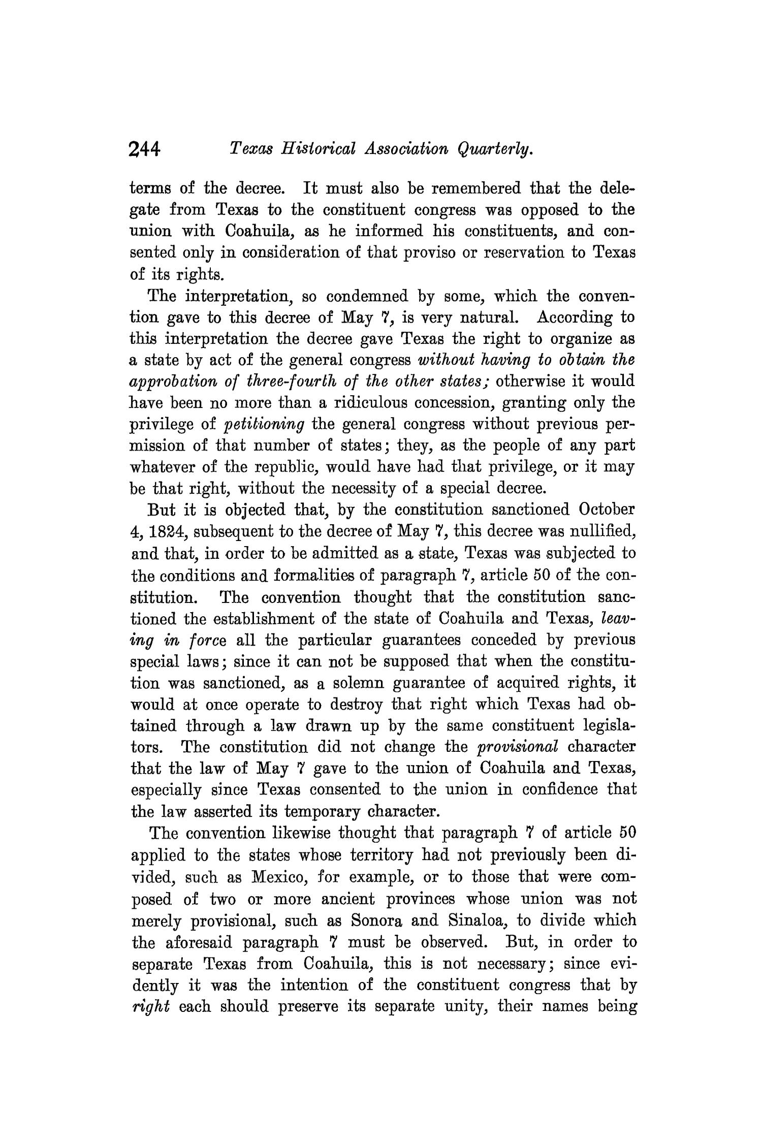 The Quarterly of the Texas State Historical Association, Volume 8, July 1904 - April, 1905                                                                                                      244