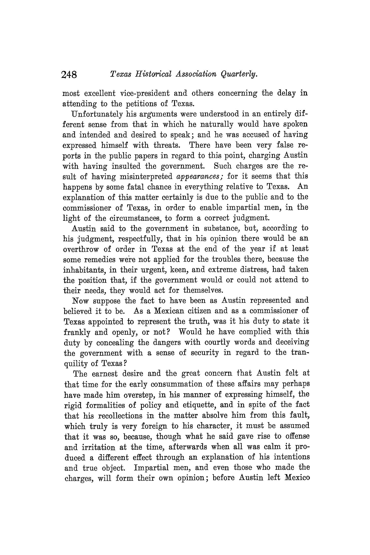 The Quarterly of the Texas State Historical Association, Volume 8, July 1904 - April, 1905                                                                                                      248