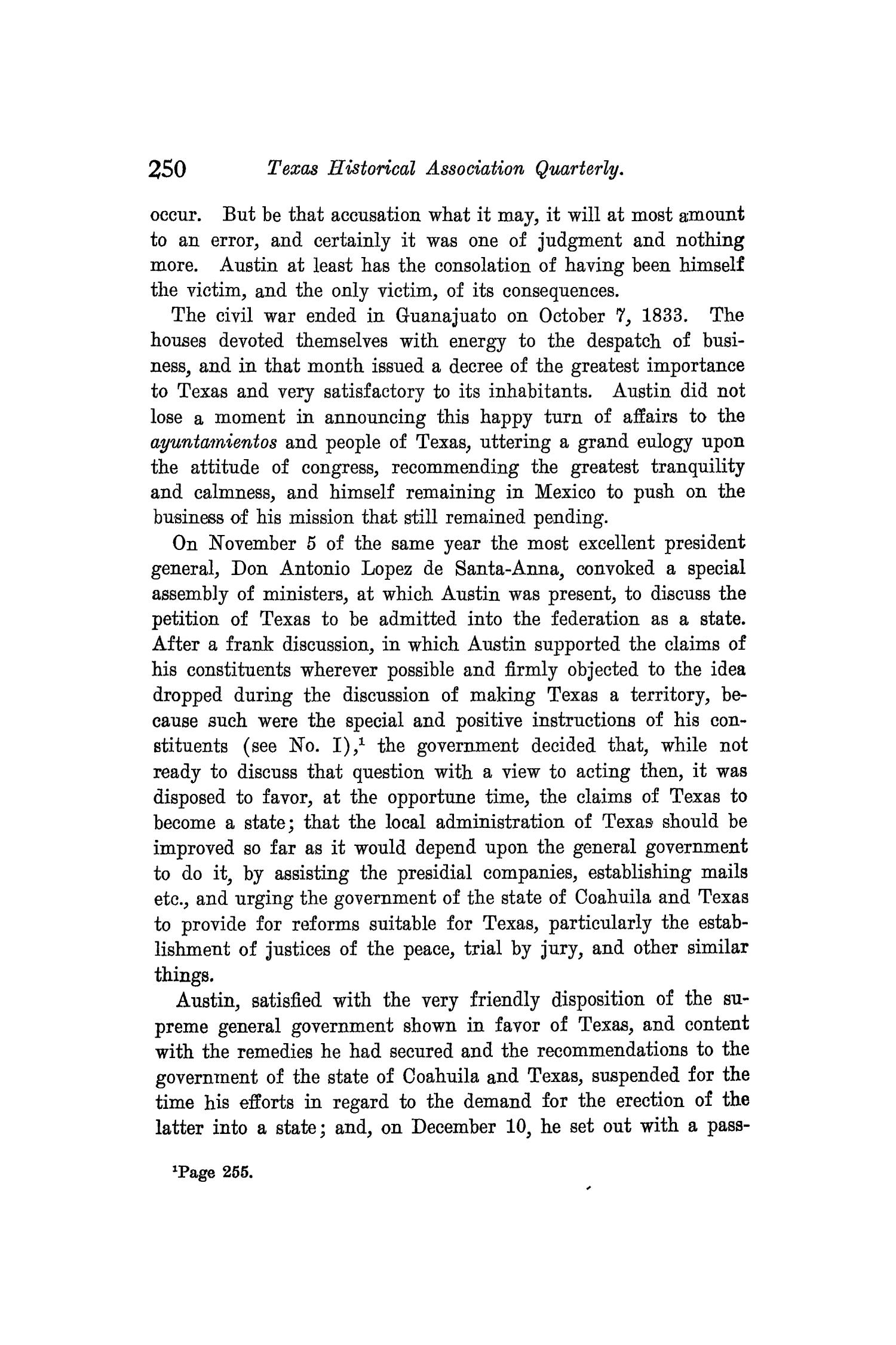 The Quarterly of the Texas State Historical Association, Volume 8, July 1904 - April, 1905                                                                                                      250