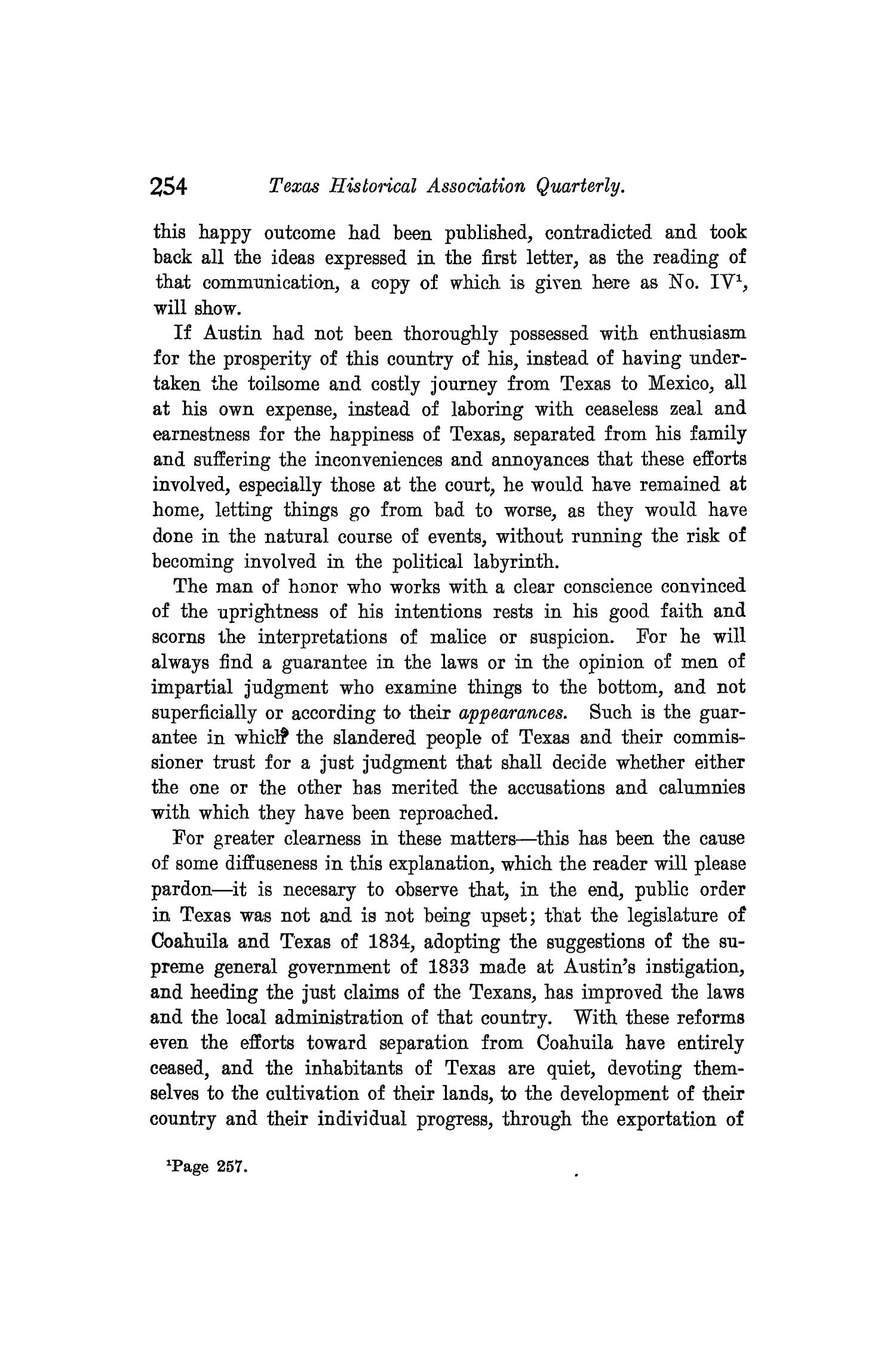 The Quarterly of the Texas State Historical Association, Volume 8, July 1904 - April, 1905                                                                                                      254