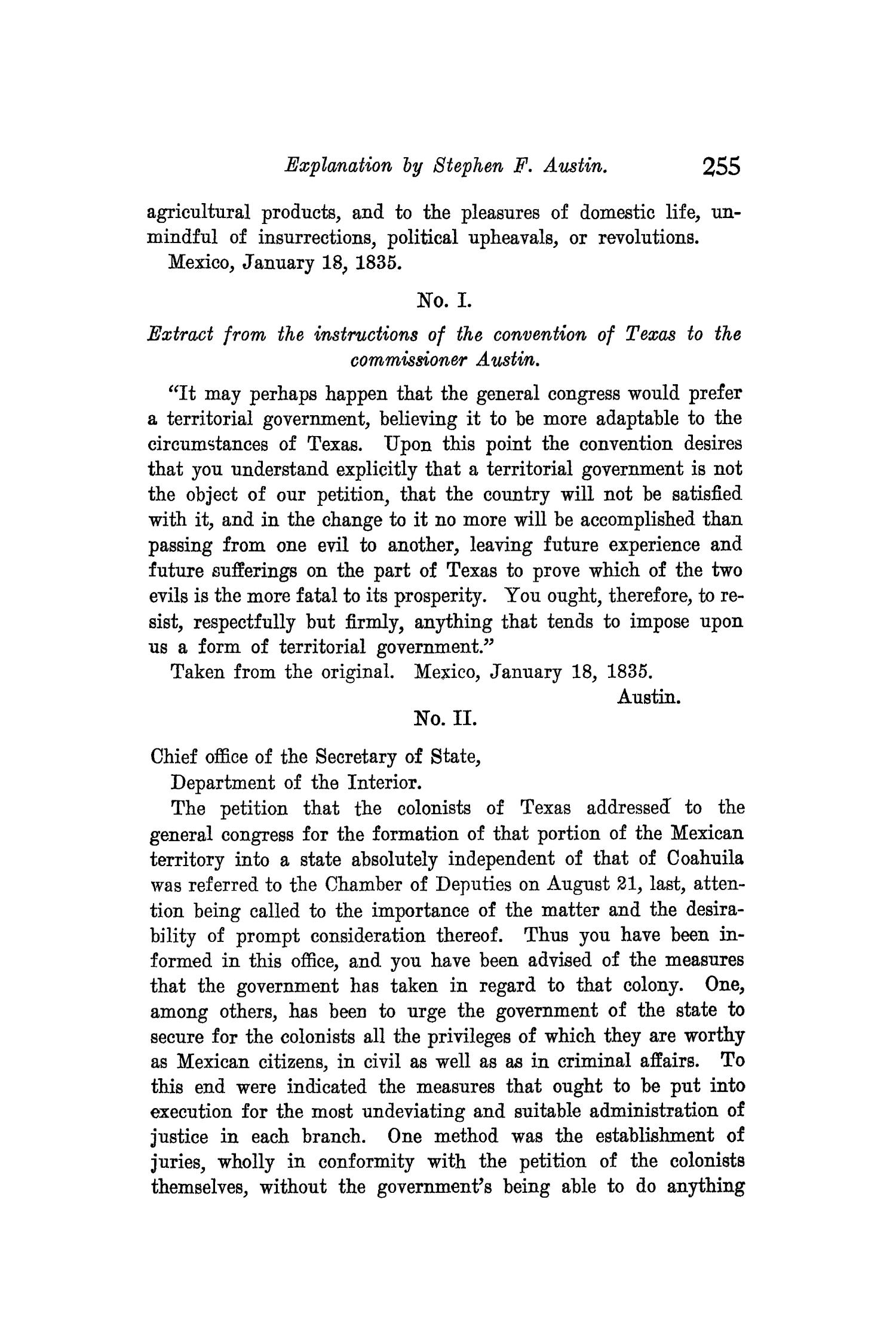 The Quarterly of the Texas State Historical Association, Volume 8, July 1904 - April, 1905                                                                                                      255