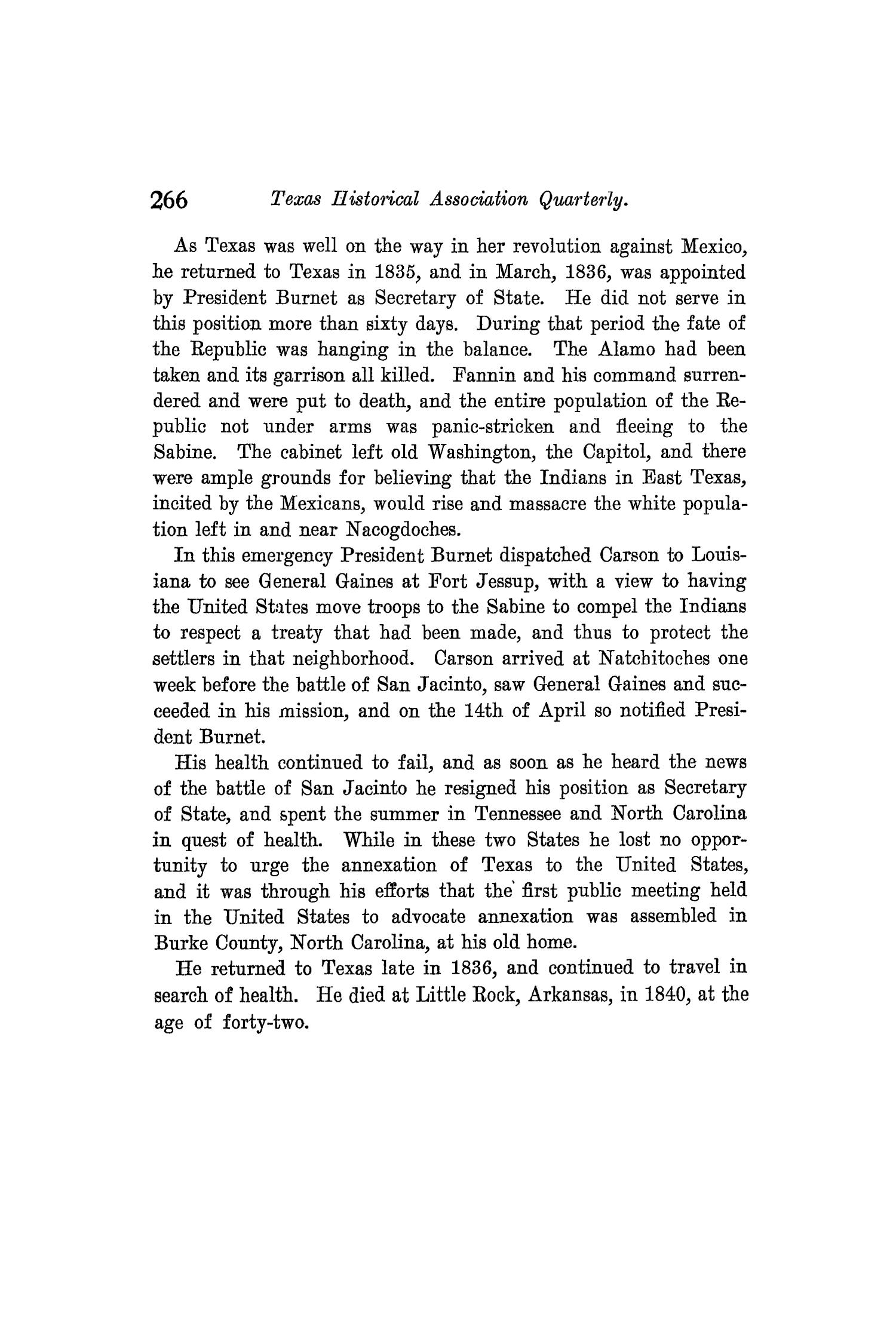 The Quarterly of the Texas State Historical Association, Volume 8, July 1904 - April, 1905                                                                                                      266