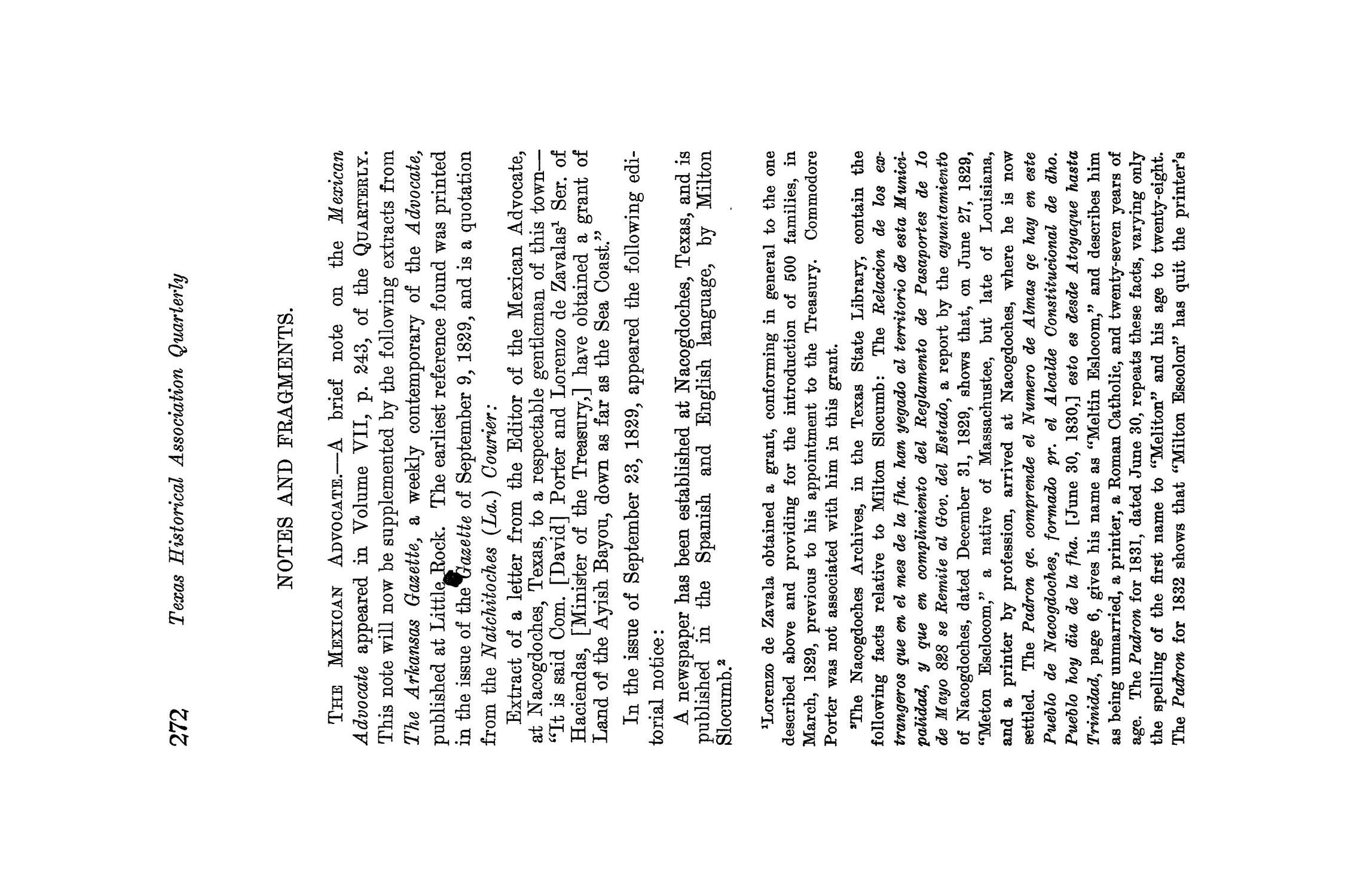 The Quarterly of the Texas State Historical Association, Volume 8, July 1904 - April, 1905                                                                                                      272