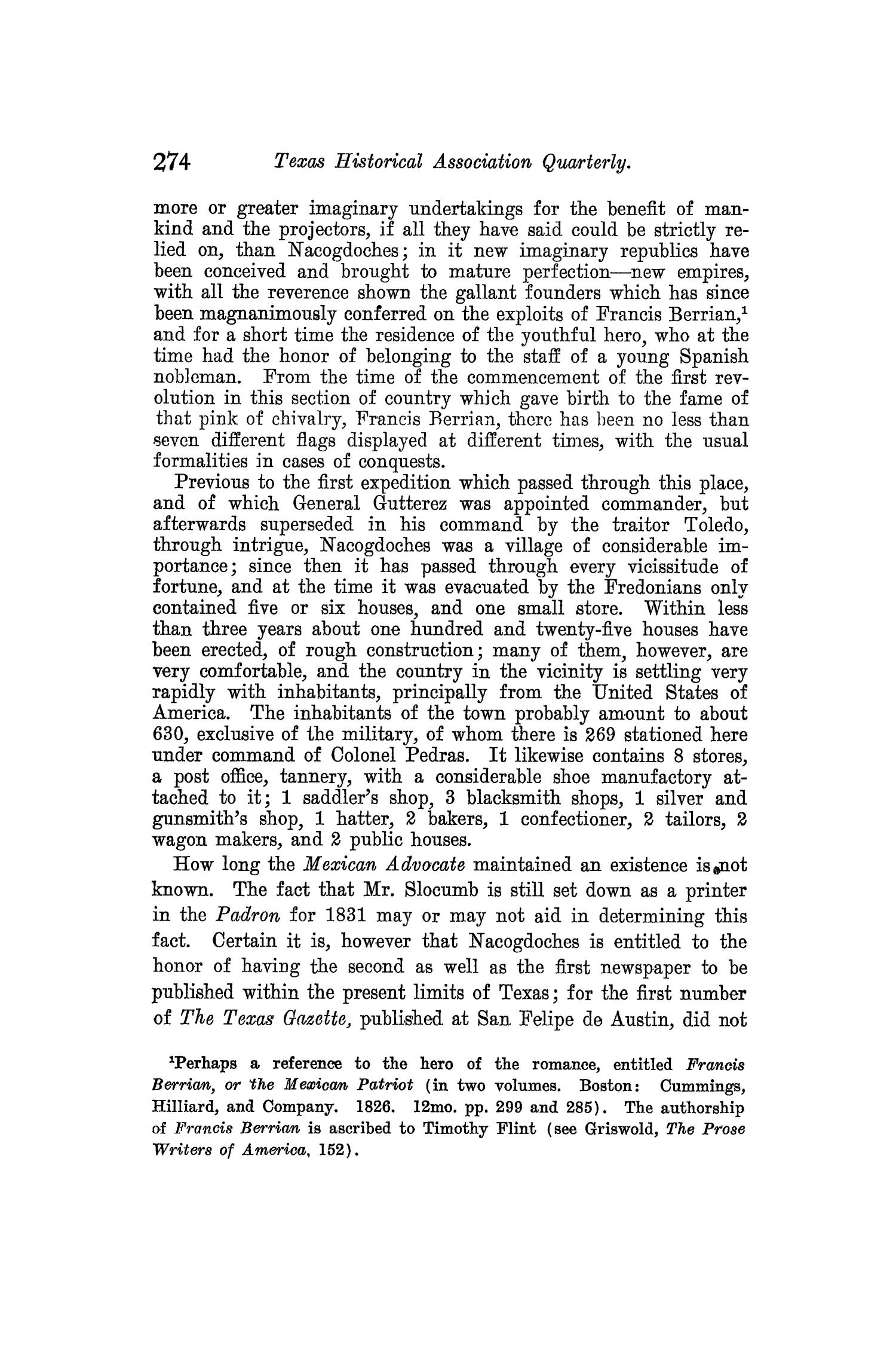 The Quarterly of the Texas State Historical Association, Volume 8, July 1904 - April, 1905                                                                                                      274