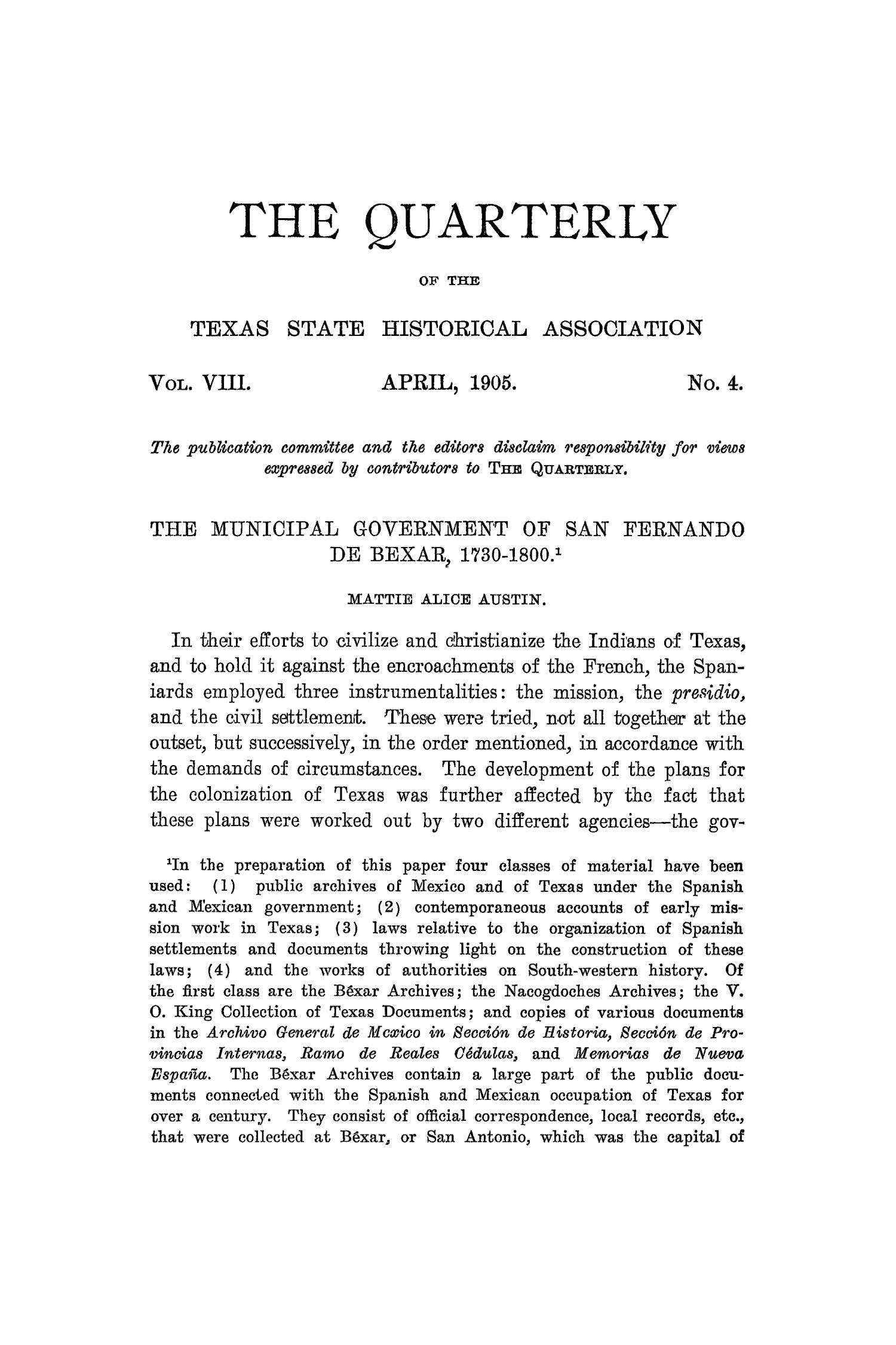 The Quarterly of the Texas State Historical Association, Volume 8, July 1904 - April, 1905                                                                                                      277