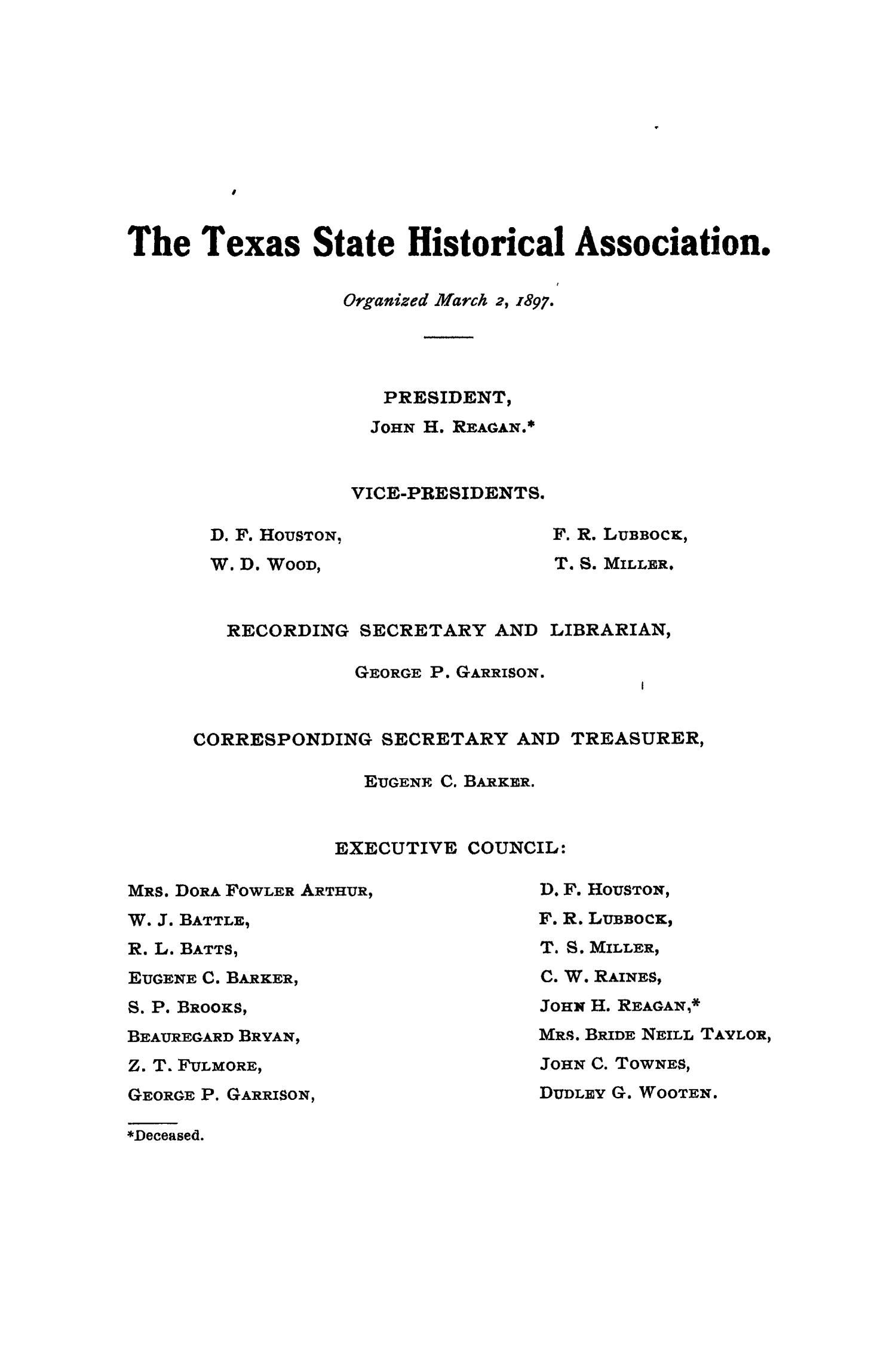 The Quarterly of the Texas State Historical Association, Volume 8, July 1904 - April, 1905                                                                                                      1