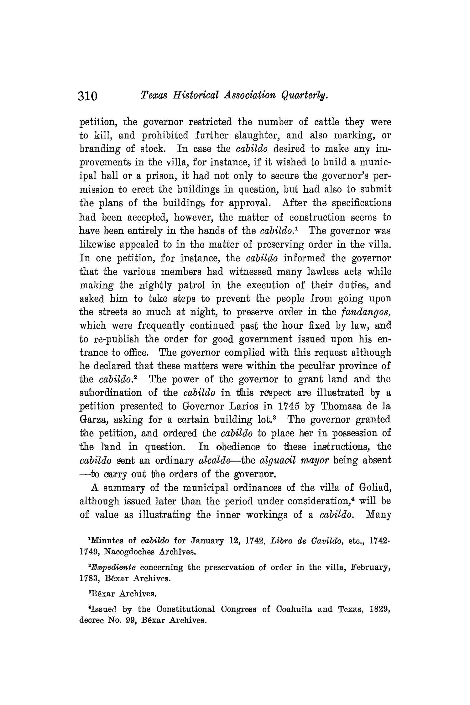 The Quarterly of the Texas State Historical Association, Volume 8, July 1904 - April, 1905                                                                                                      310