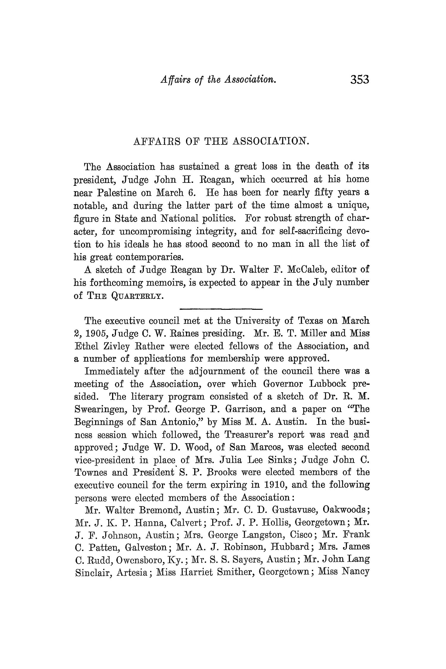 The Quarterly of the Texas State Historical Association, Volume 8, July 1904 - April, 1905                                                                                                      353