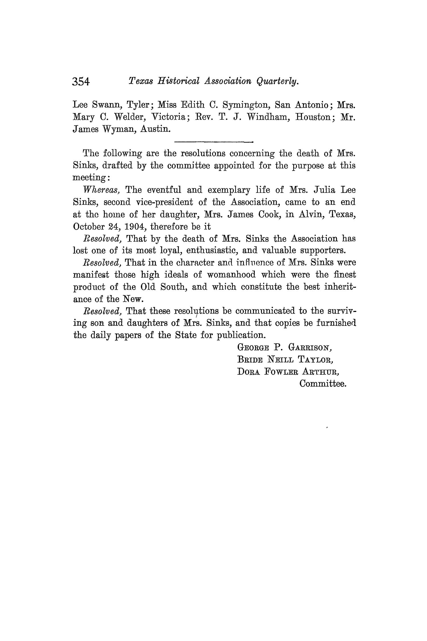 The Quarterly of the Texas State Historical Association, Volume 8, July 1904 - April, 1905                                                                                                      354