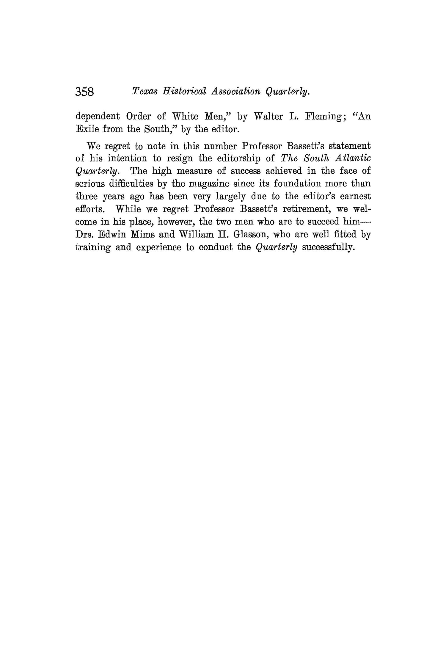 The Quarterly of the Texas State Historical Association, Volume 8, July 1904 - April, 1905                                                                                                      358