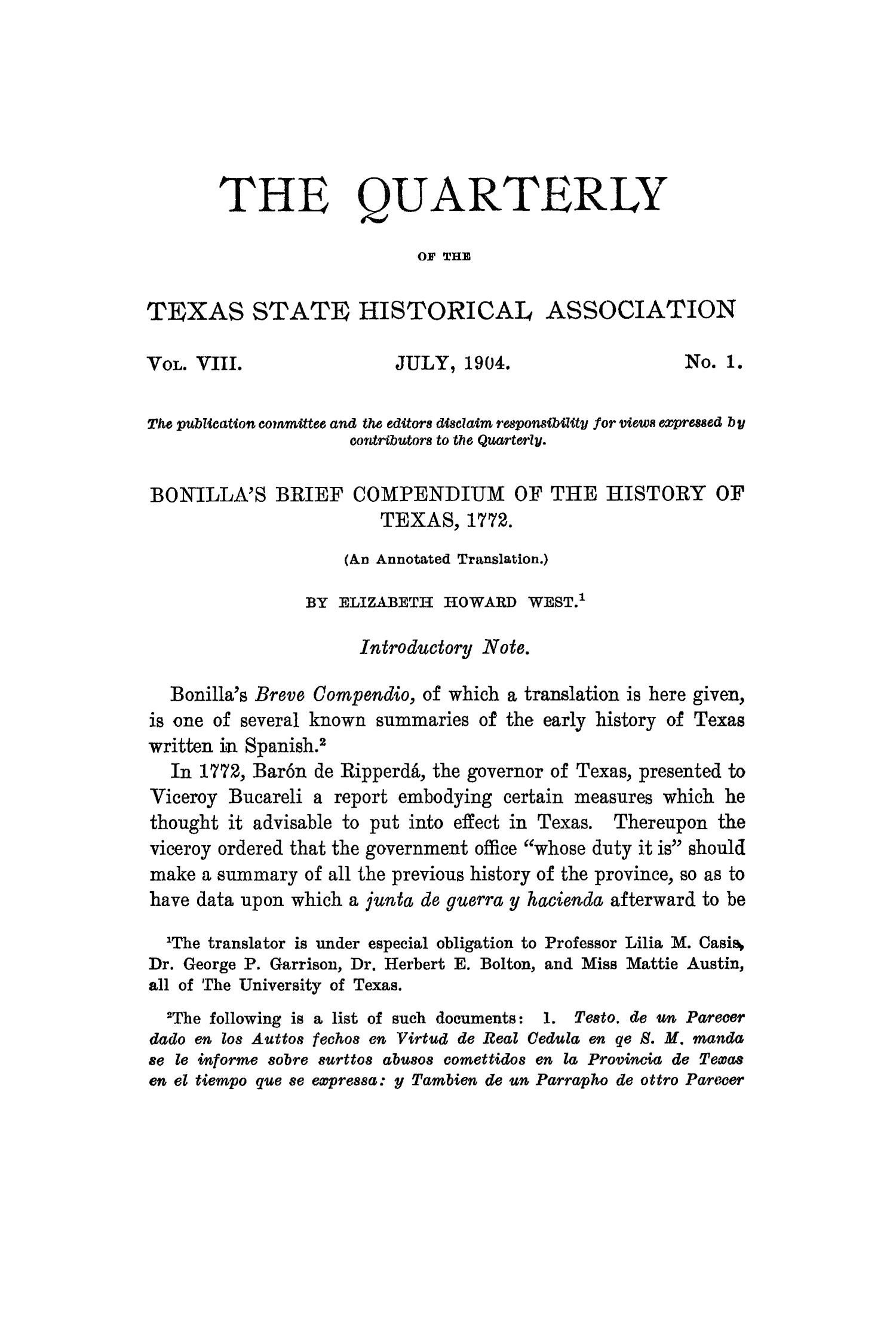 The Quarterly of the Texas State Historical Association, Volume 8, July 1904 - April, 1905                                                                                                      3