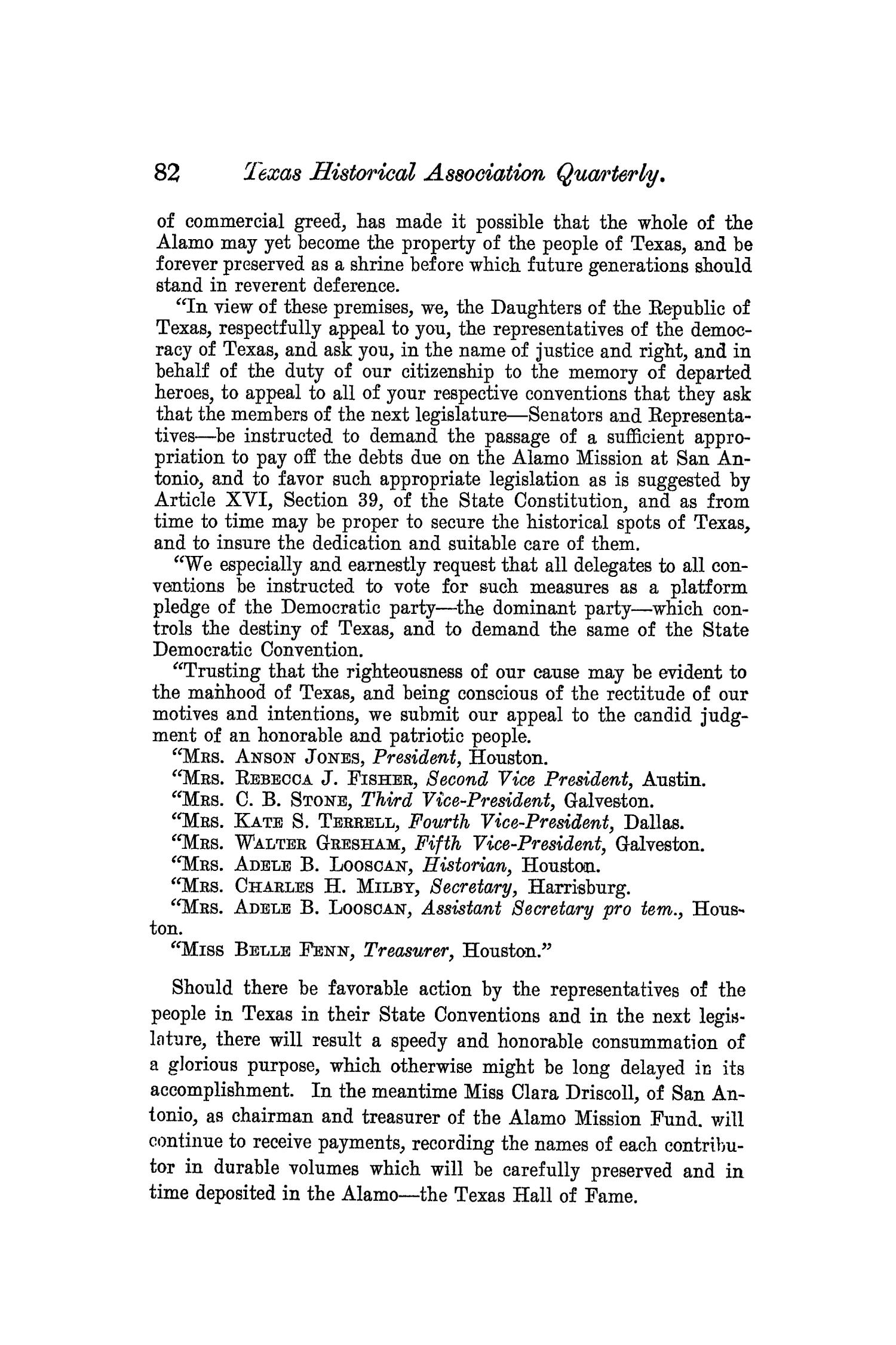 The Quarterly of the Texas State Historical Association, Volume 8, July 1904 - April, 1905                                                                                                      82