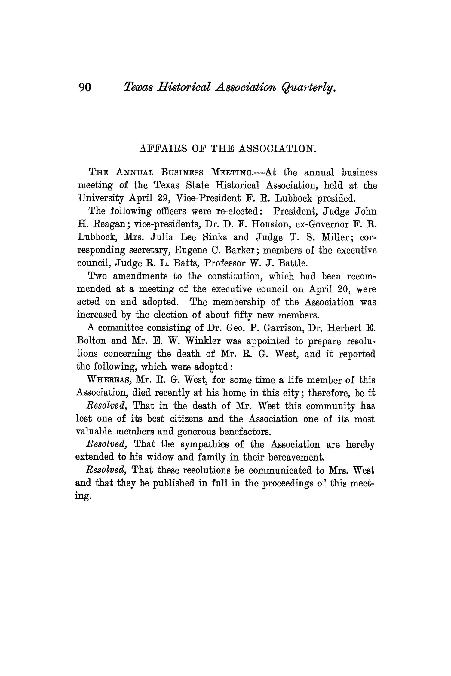 The Quarterly of the Texas State Historical Association, Volume 8, July 1904 - April, 1905                                                                                                      90