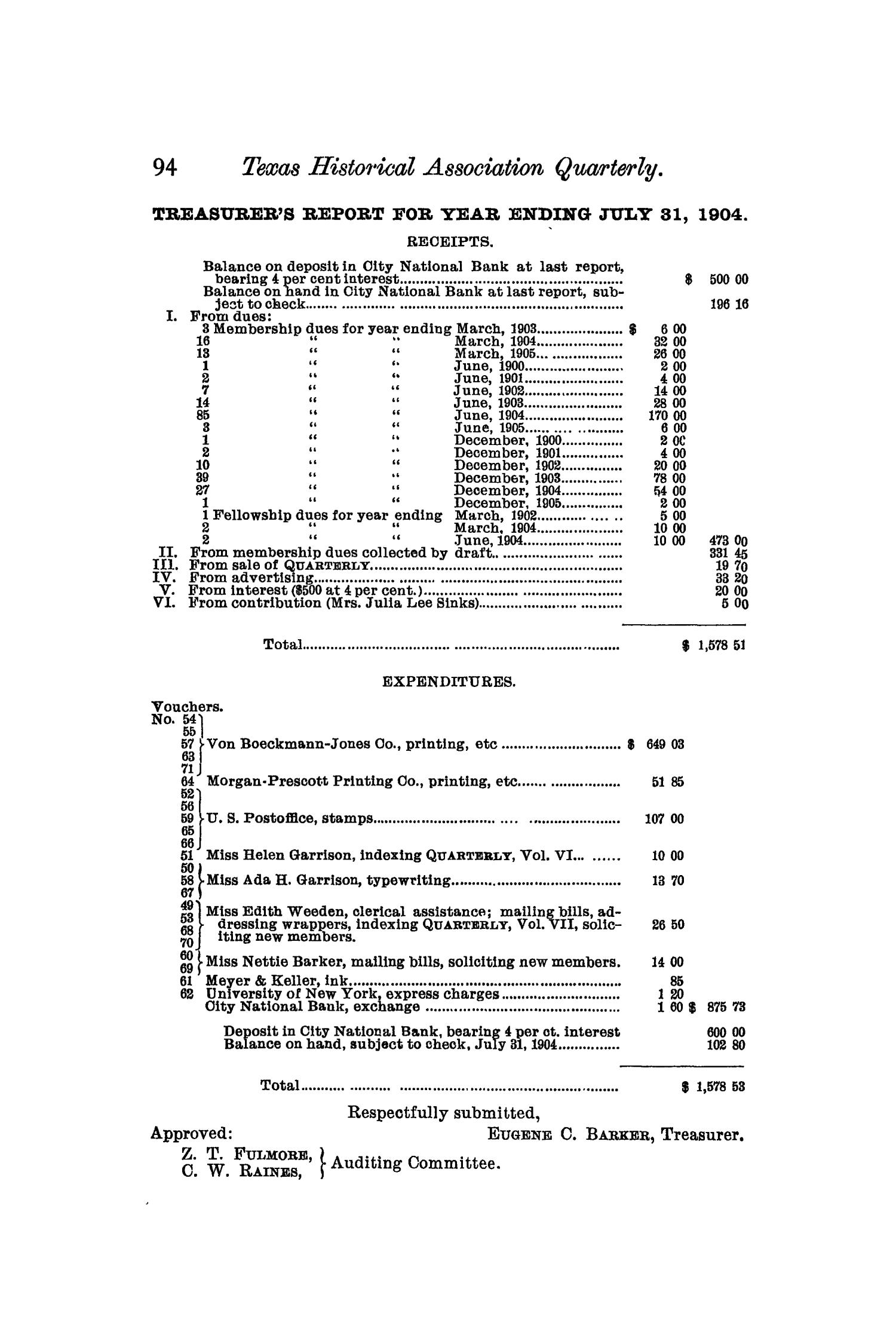The Quarterly of the Texas State Historical Association, Volume 8, July 1904 - April, 1905                                                                                                      94