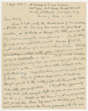 Primary view of object titled '[Letter from Lt. Edward Drew to Mickey McLernon, March 12, 1944]'.