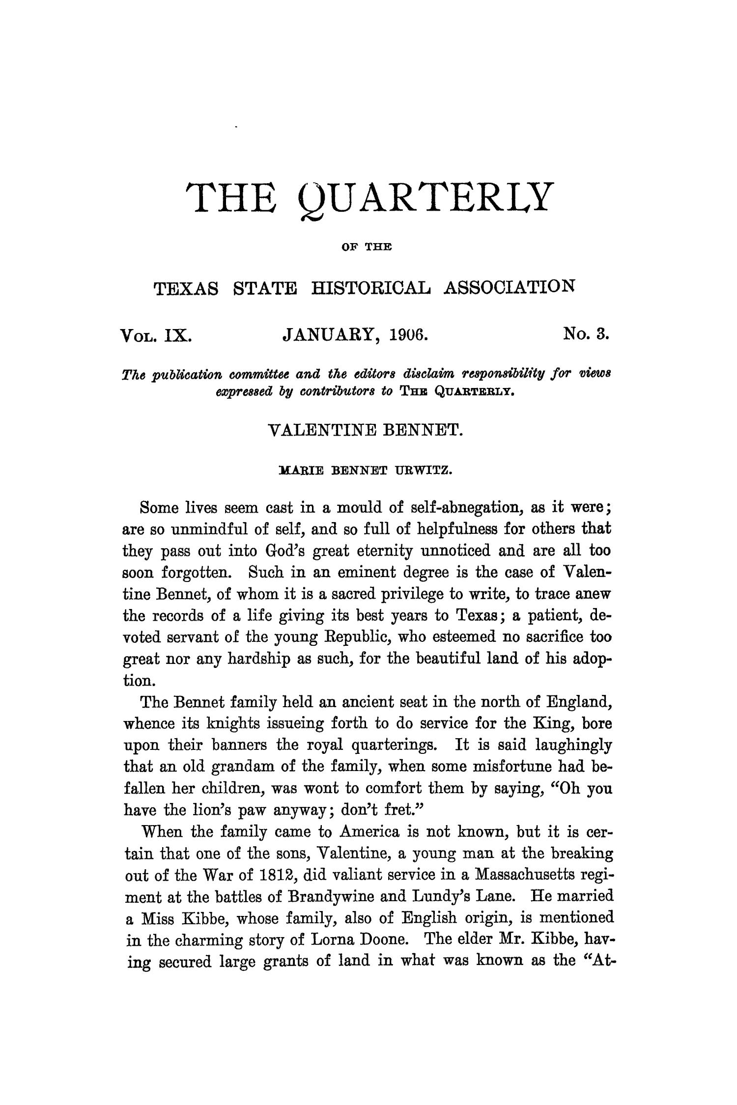 The Quarterly of the Texas State Historical Association, Volume 9, July 1905 - April, 1906                                                                                                      145