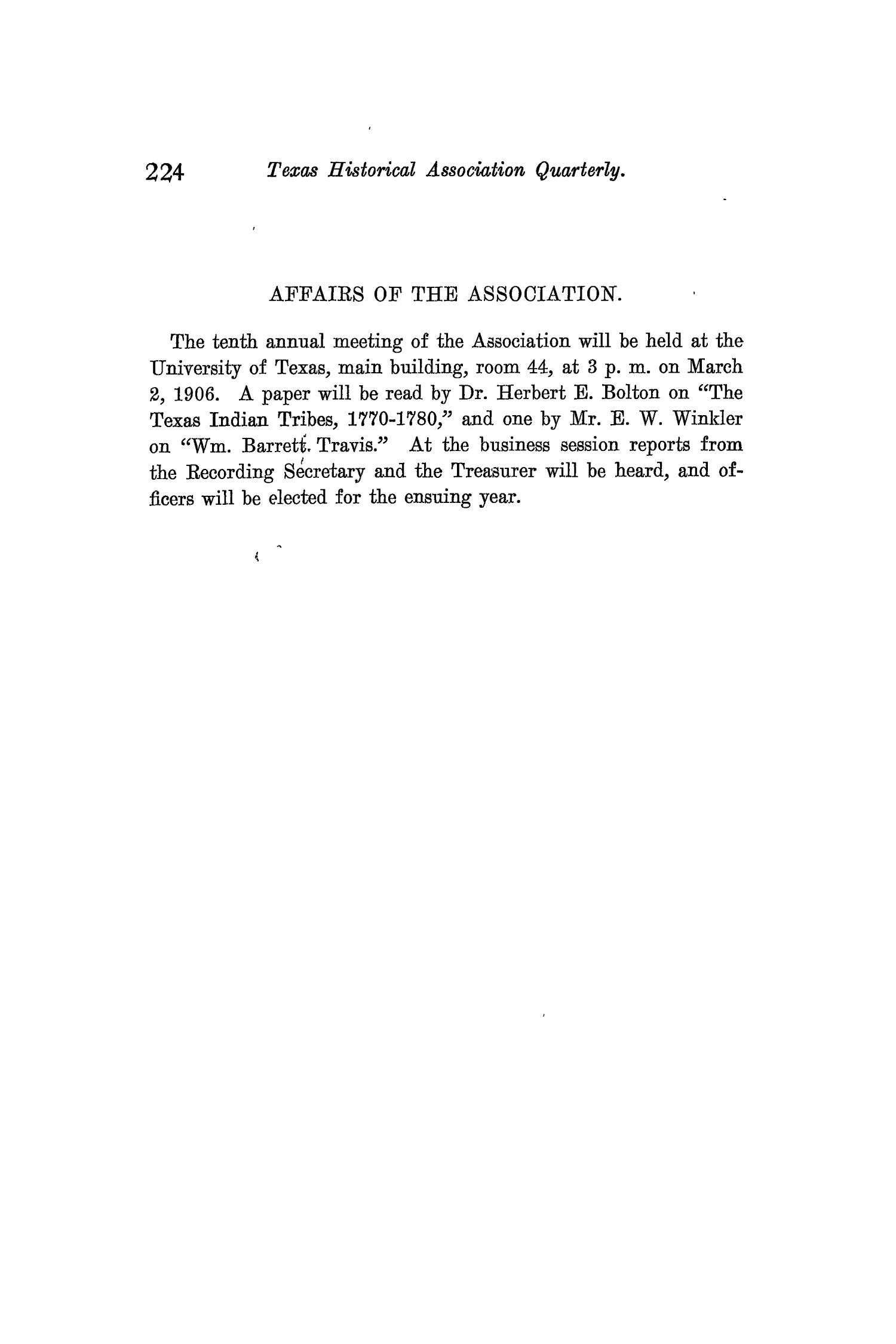 The Quarterly of the Texas State Historical Association, Volume 9, July 1905 - April, 1906                                                                                                      224