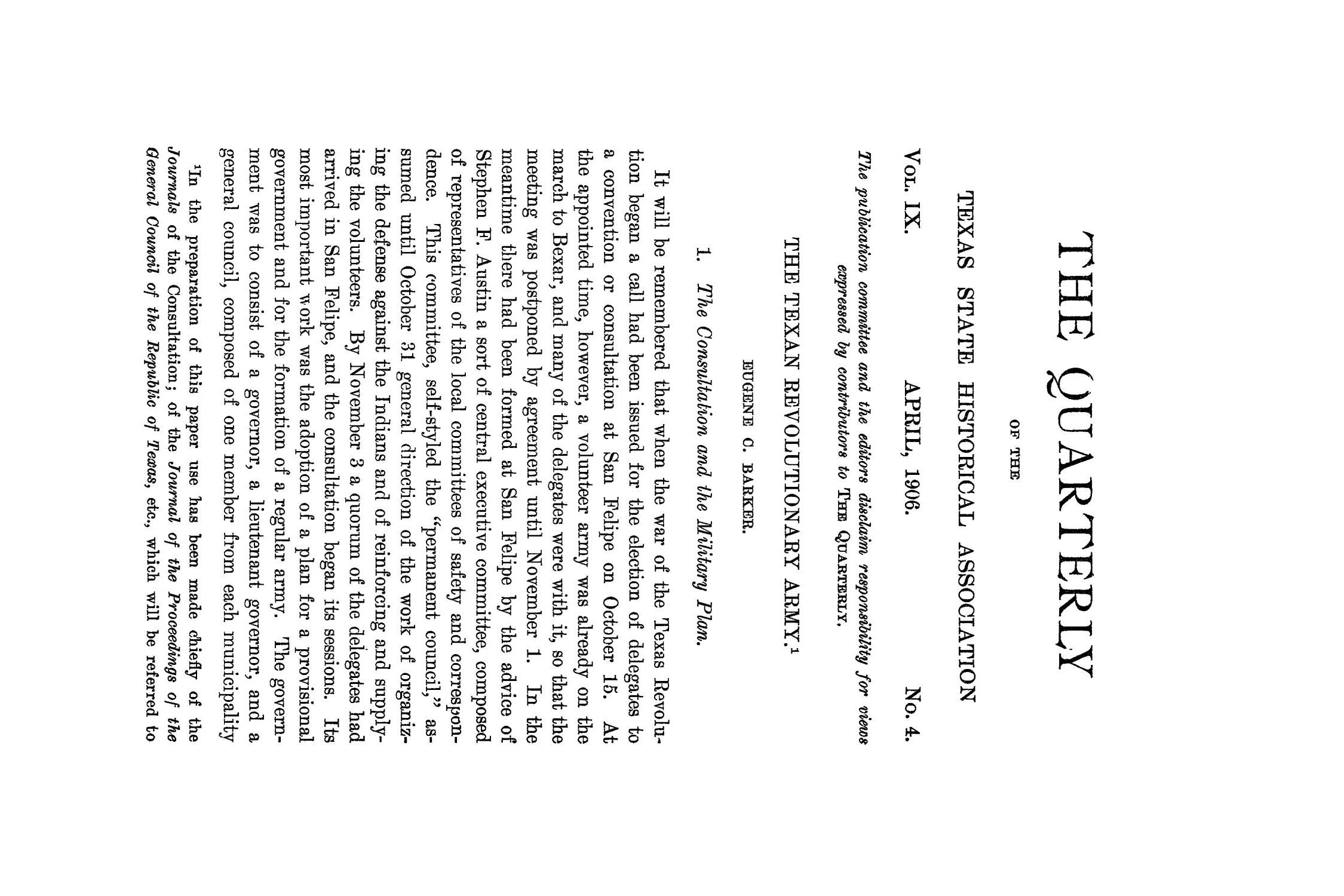 The Quarterly of the Texas State Historical Association, Volume 9, July 1905 - April, 1906                                                                                                      227