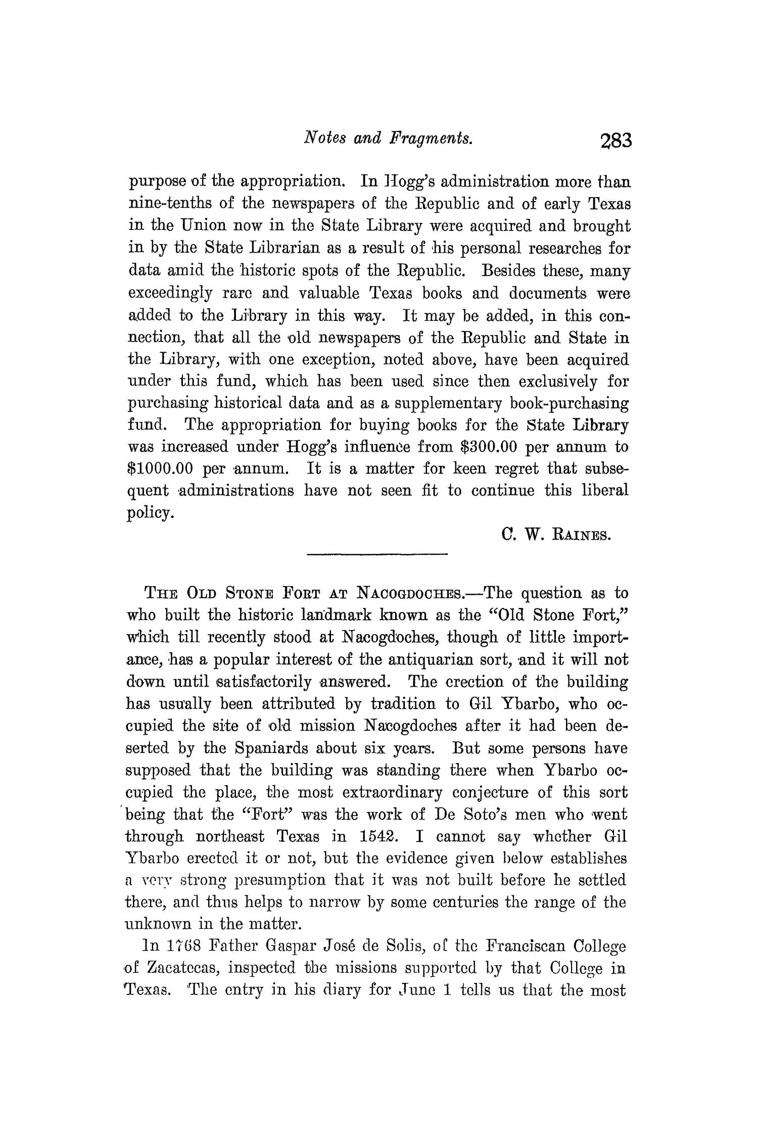 The Quarterly of the Texas State Historical Association, Volume 9, July 1905 - April, 1906                                                                                                      283