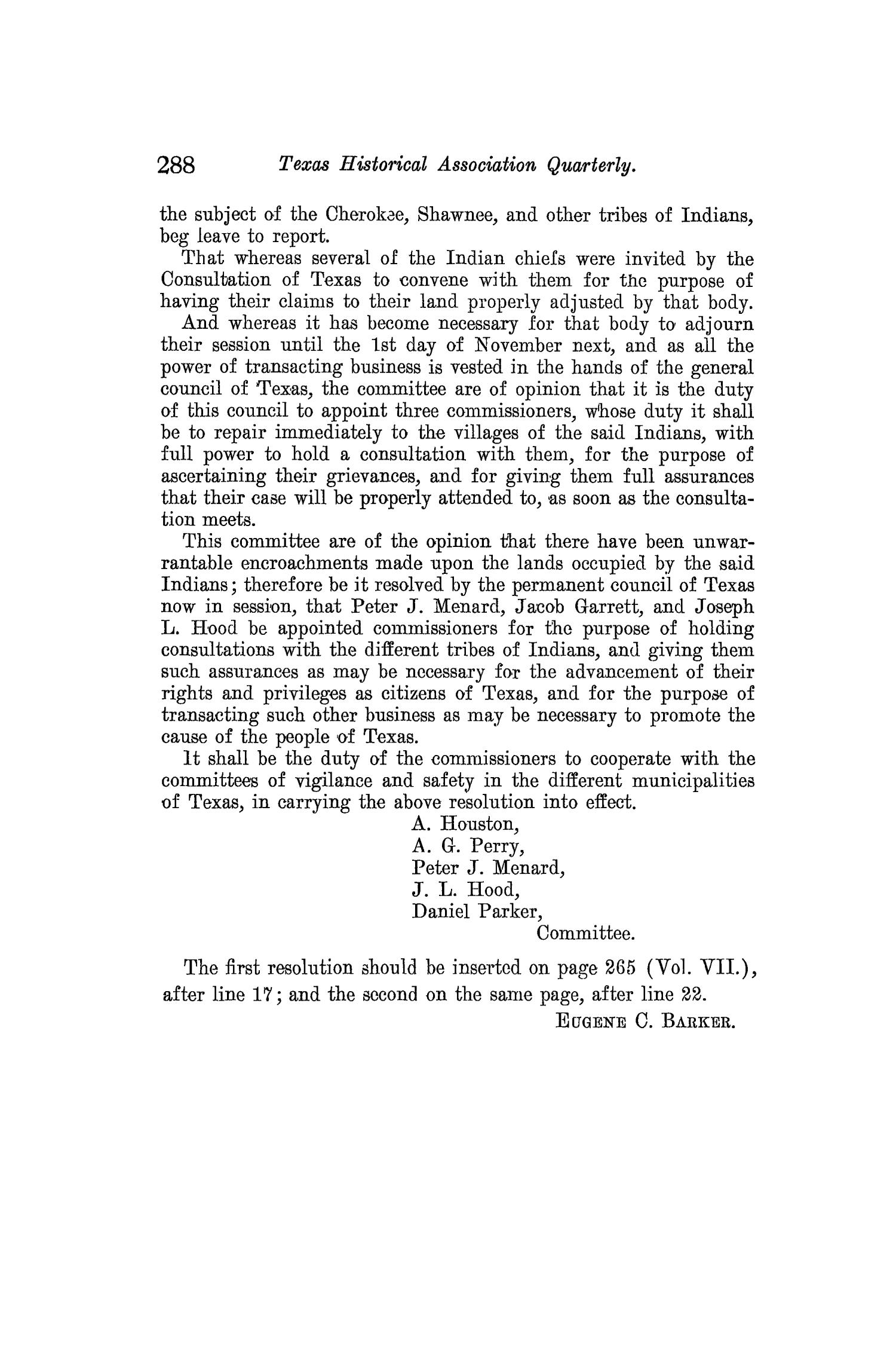 The Quarterly of the Texas State Historical Association, Volume 9, July 1905 - April, 1906                                                                                                      288