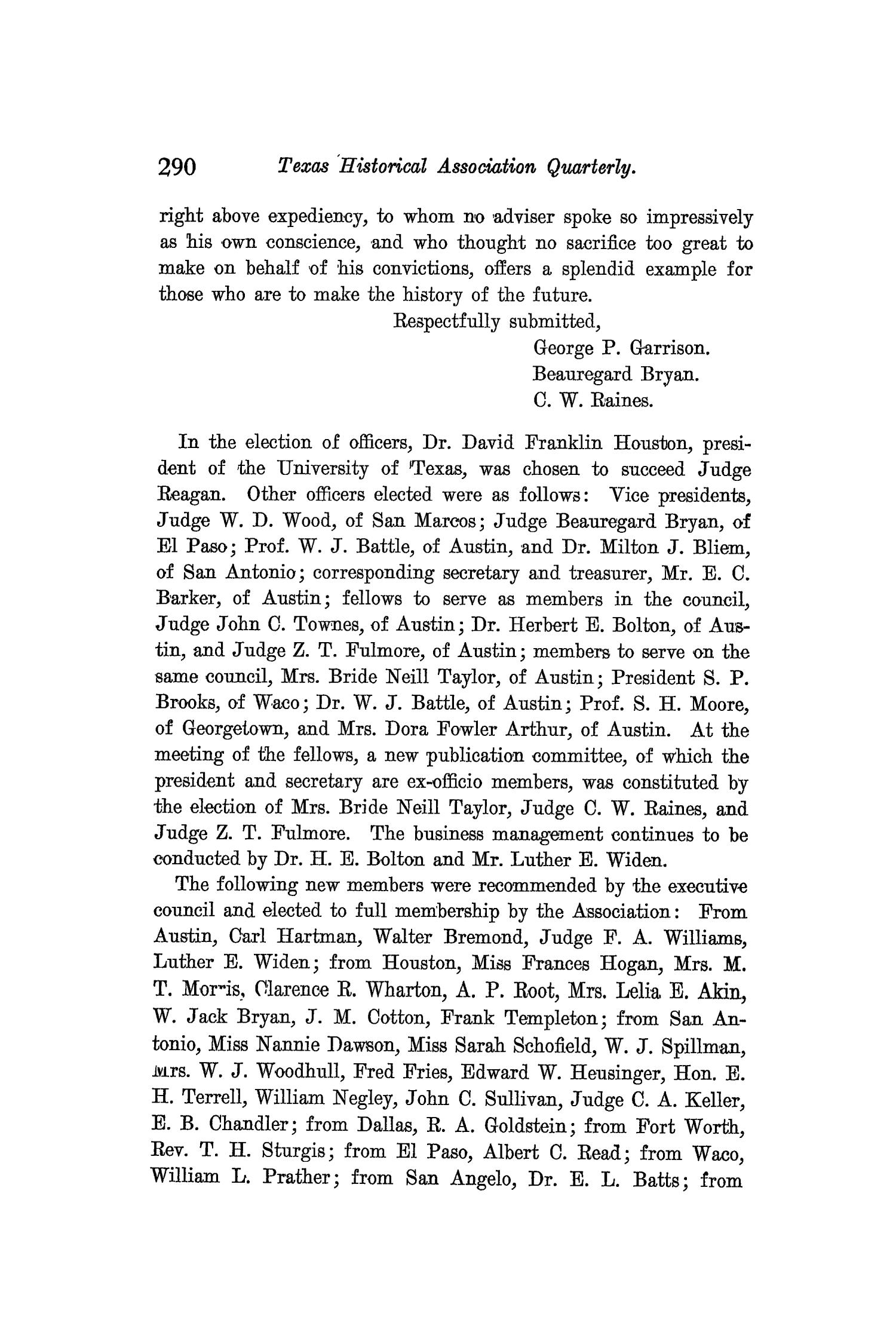The Quarterly of the Texas State Historical Association, Volume 9, July 1905 - April, 1906                                                                                                      290