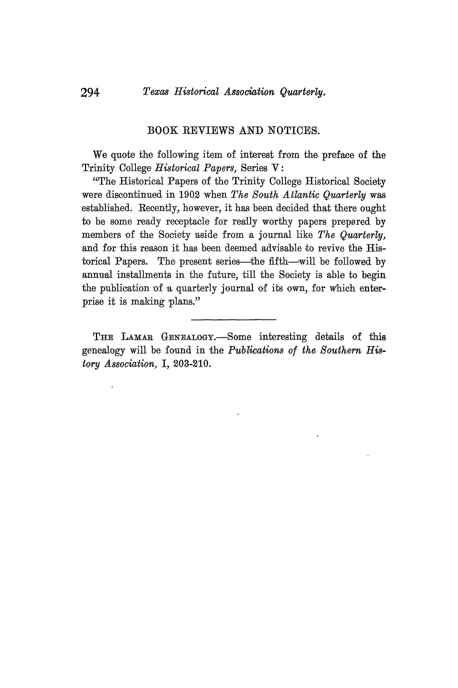 The Quarterly of the Texas State Historical Association, Volume 9, July 1905 - April, 1906                                                                                                      294