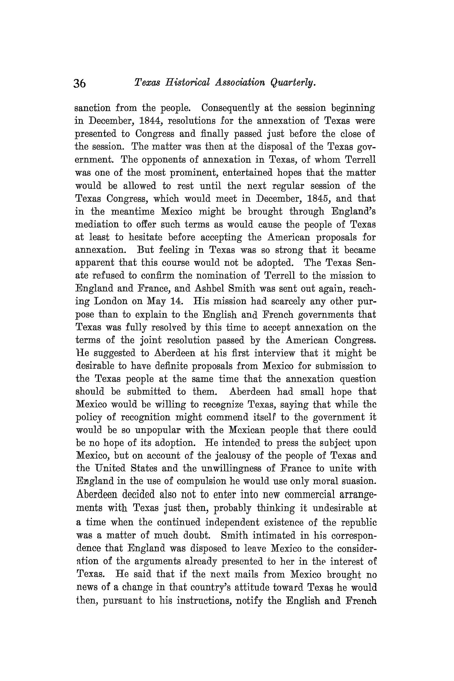 The Quarterly of the Texas State Historical Association, Volume 9, July 1905 - April, 1906                                                                                                      36