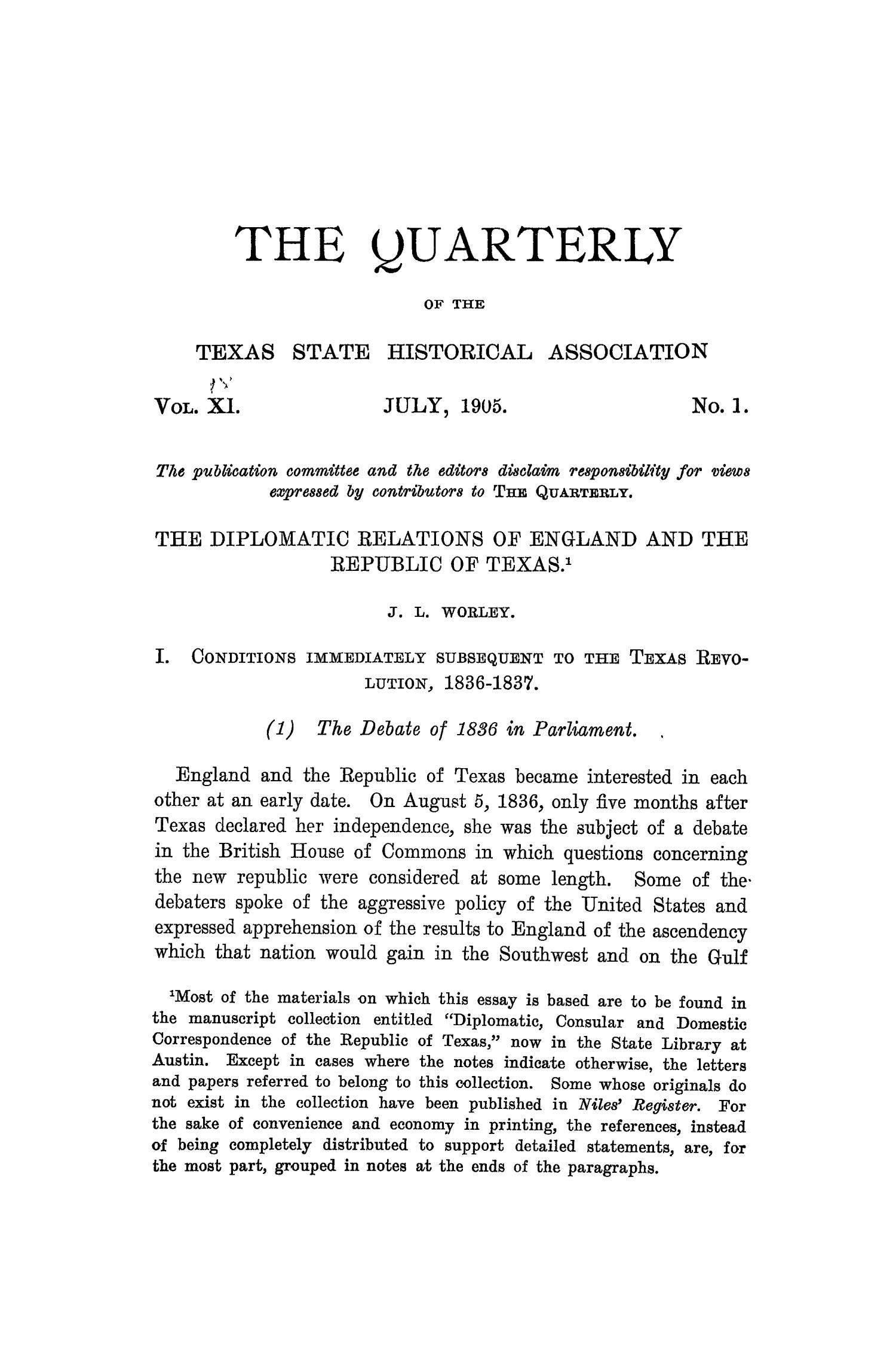 The Quarterly of the Texas State Historical Association, Volume 9, July 1905 - April, 1906                                                                                                      1