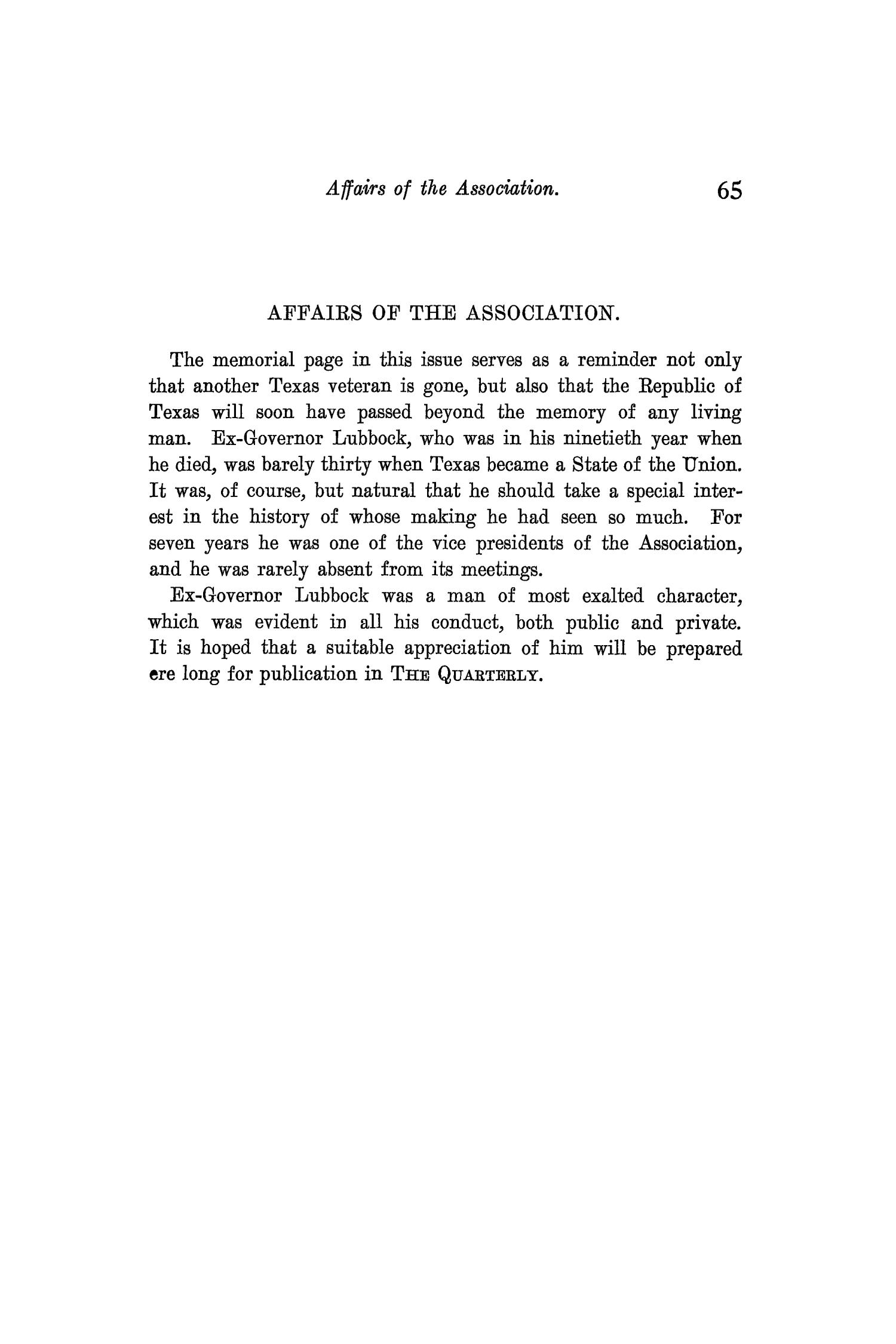The Quarterly of the Texas State Historical Association, Volume 9, July 1905 - April, 1906                                                                                                      65