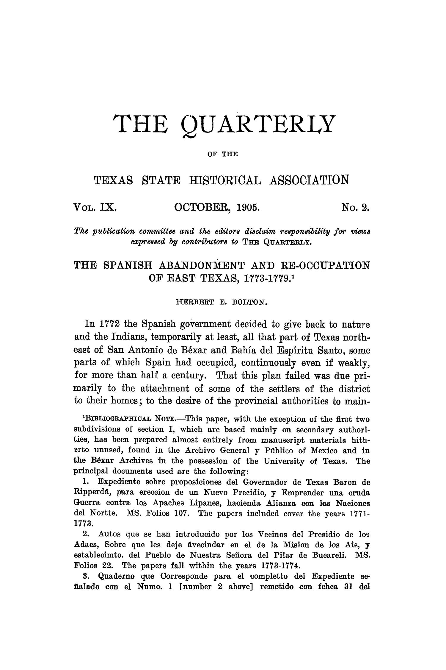 The Quarterly of the Texas State Historical Association, Volume 9, July 1905 - April, 1906                                                                                                      67