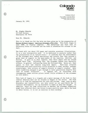 Primary view of object titled '[Letter from Dean Jaros to Rigdon Edwards, January 28, 1993]'.