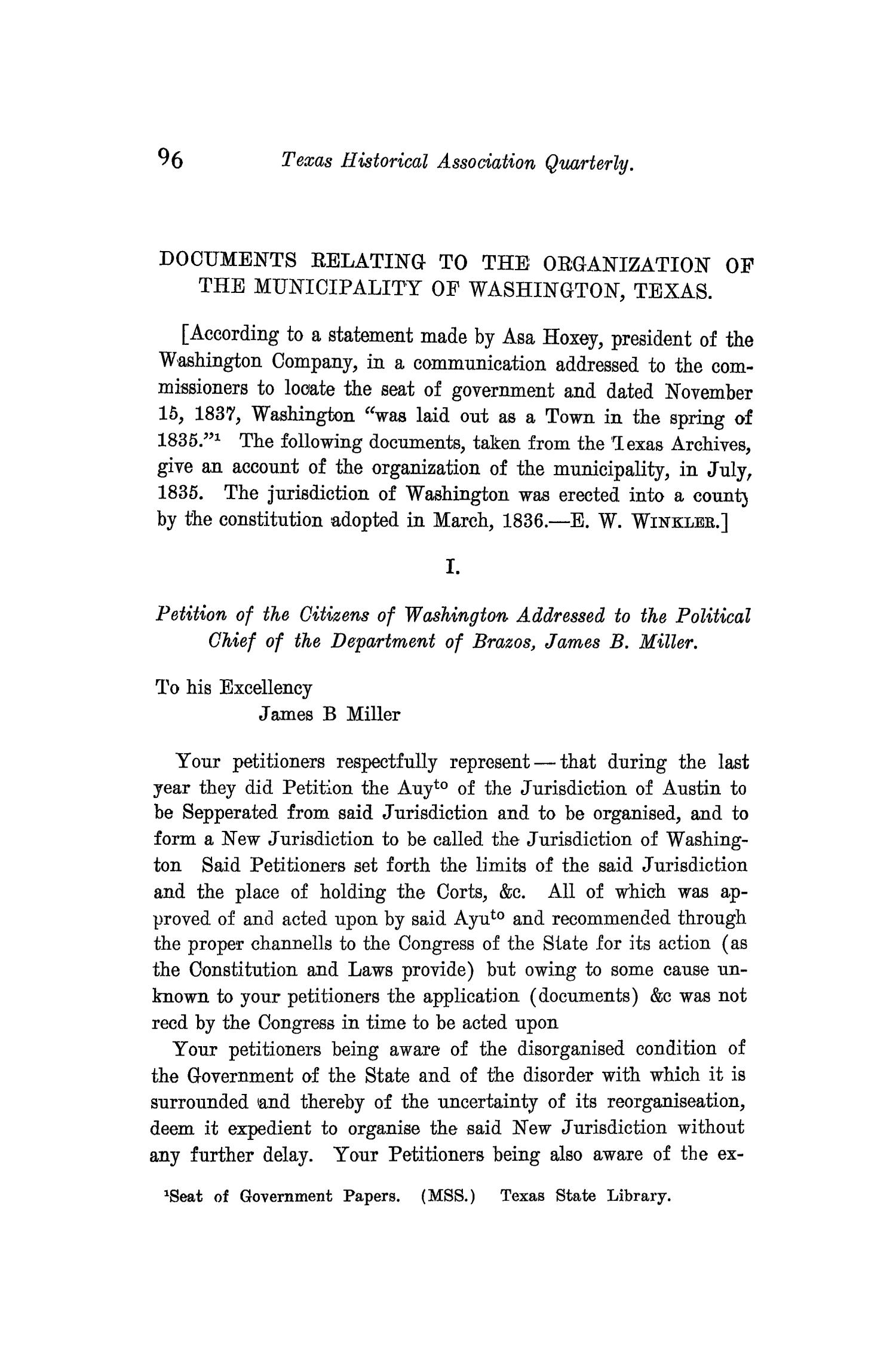 The Quarterly of the Texas State Historical Association, Volume 10, July 1906 - April, 1907                                                                                                      96